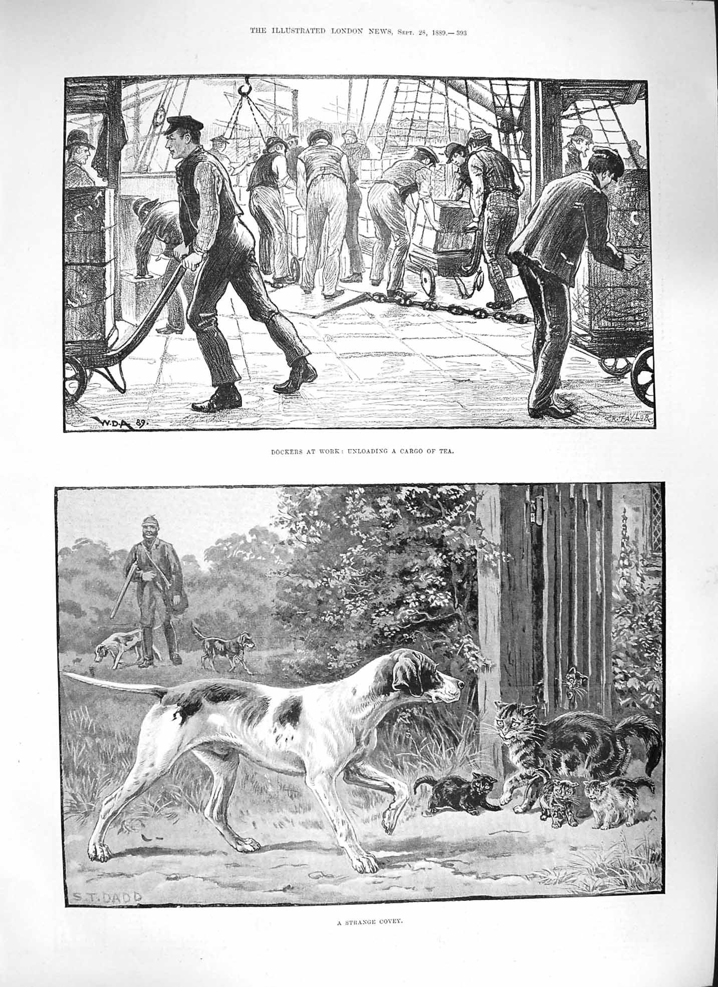 [Print 1889 Dockers Unloading Cargo Tea Huntsman Dog Cats  Old Original]