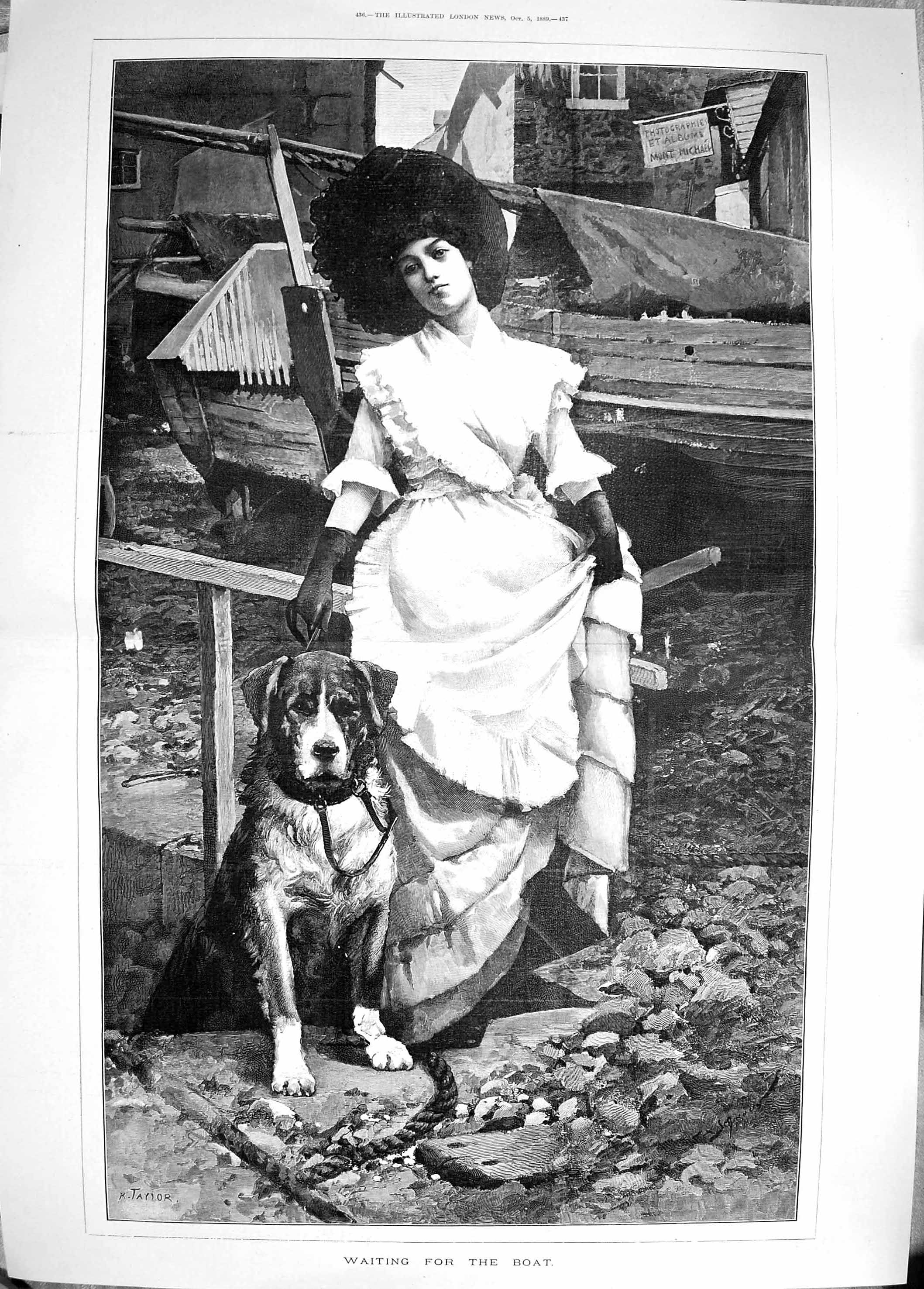 [Print 1889 Young Woman Pet Dog Waiting Boat Taylor Fine Art 435Tp195 Old Original]