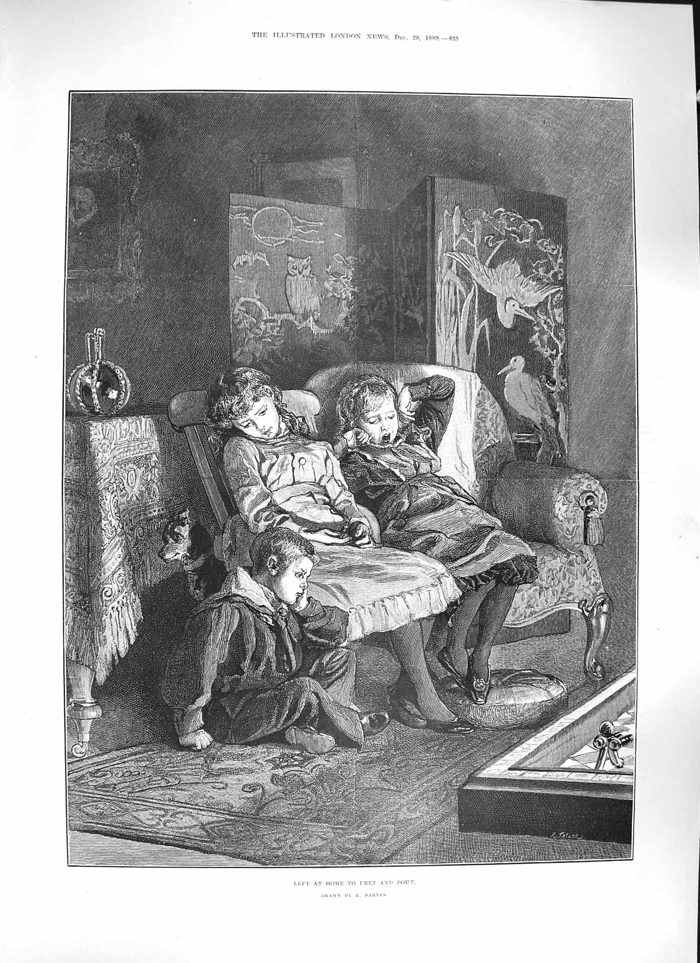 [Print Barnes 1889 Family Home Children Chair Dog 833P195 Old Original]
