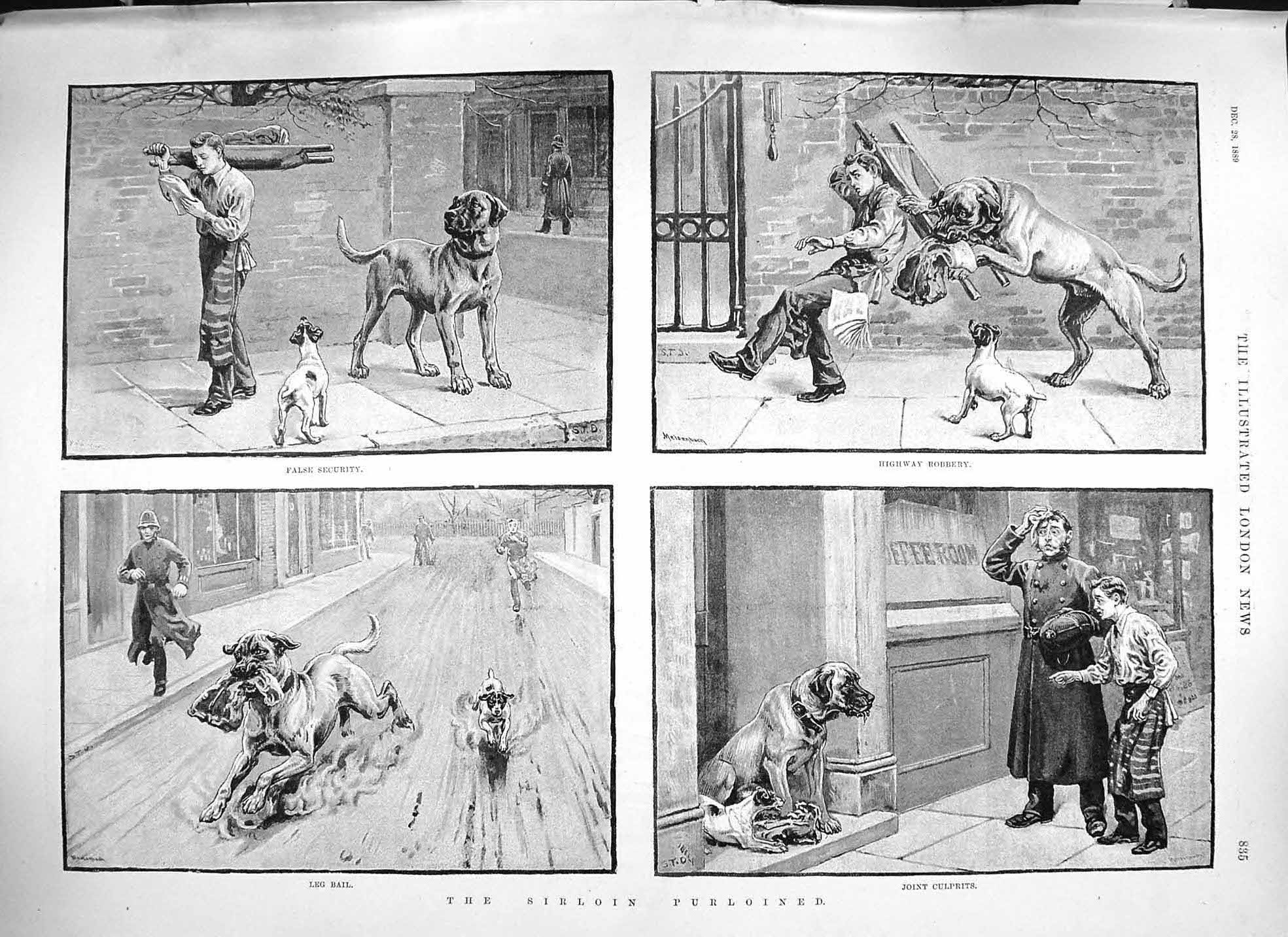 [Print 1889 Sirloin Purloined Butcher Dog Thief Police Man 835P195 Old Original]