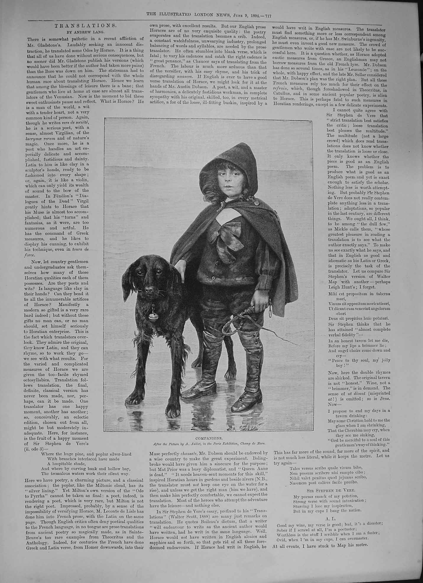 [Print 1894 Companions Young Boy Dog Himalayas Hispar Pass 717P204 Old Original]