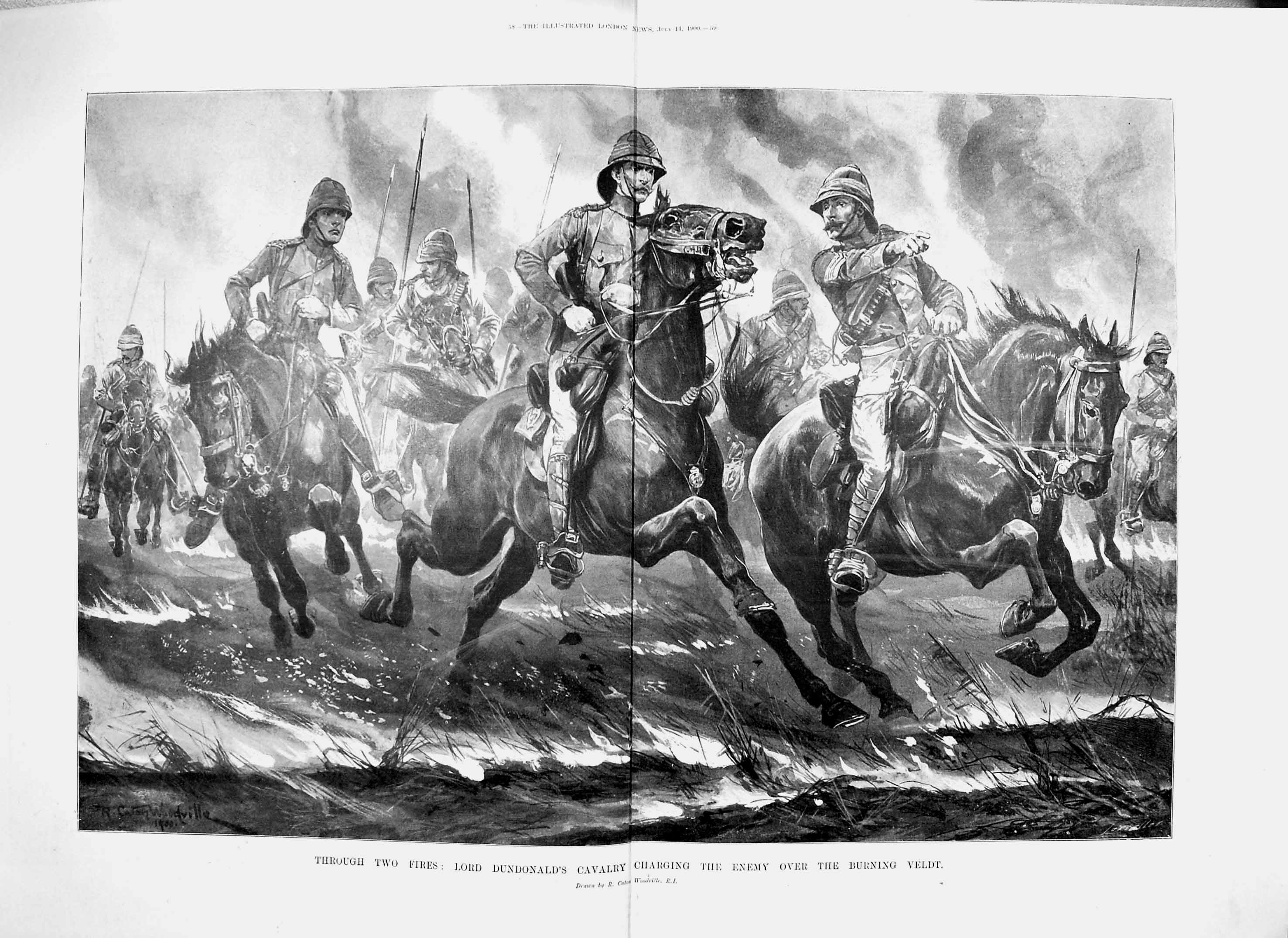[Print 1900 Lord Dundonald Cavalry Burning Veldt Horses War 057Tp217 Old Original]