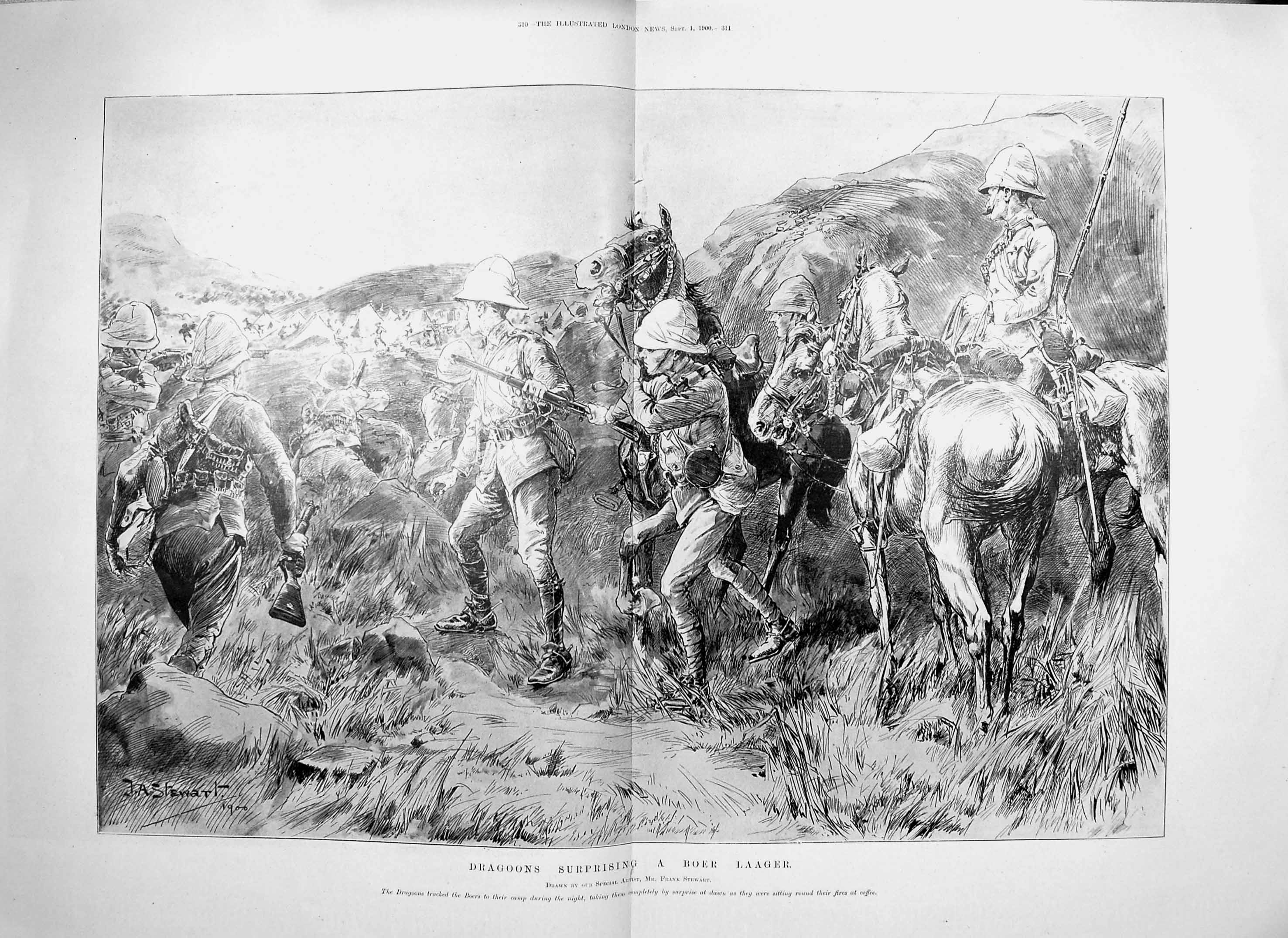[Print 1900 Dragoons Boer Laager Soldiers War Horses 309Tp217 Old Original]