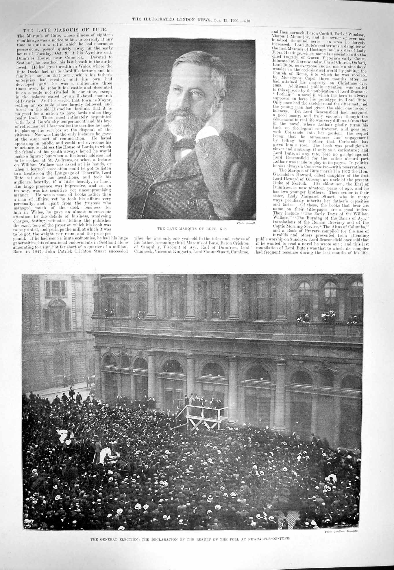 [Print 1900 Marquis Bute Election Newcastle-On-Tyne Poll 518P217 Old Original]