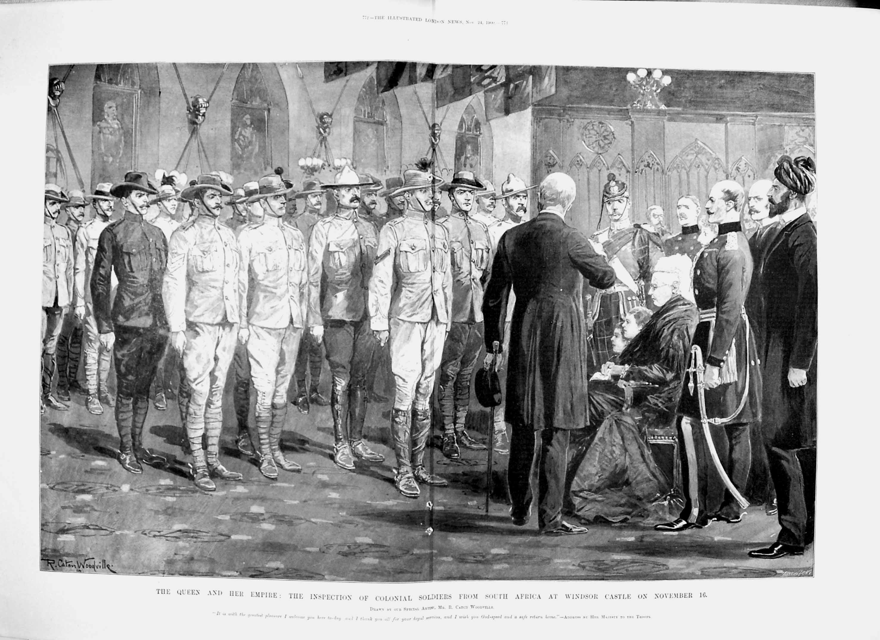 [Print 1900 Queen Colonial Soldiers Africa Windsor Castle 771Tp217 Old Original]