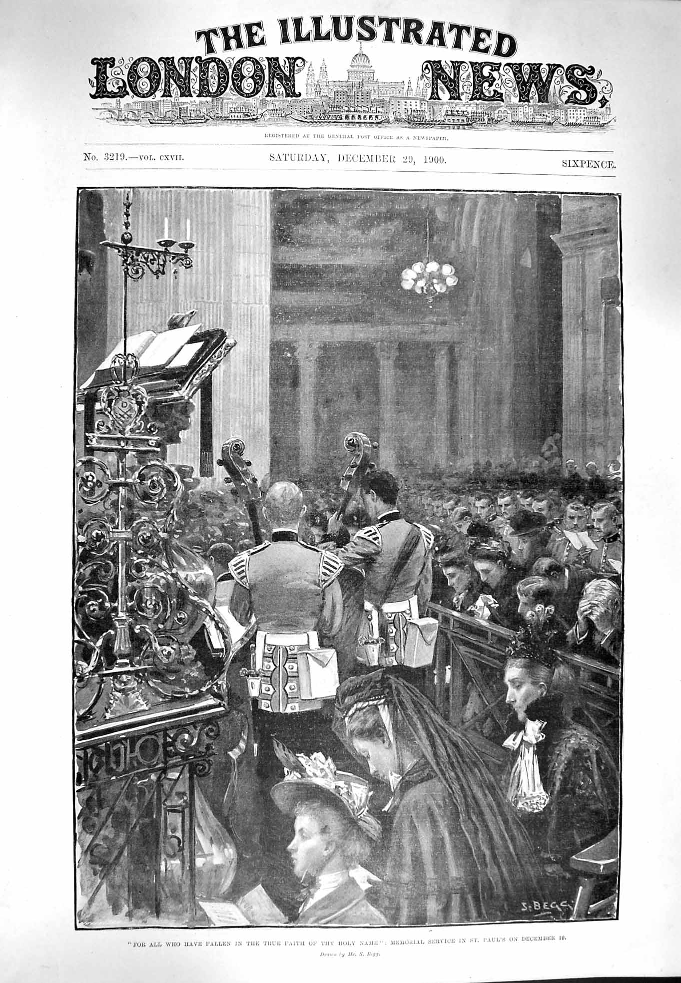 [Print 1900 Memorial Service St. Paul'S Cathedral Soldiers War 965P217 Old Original]