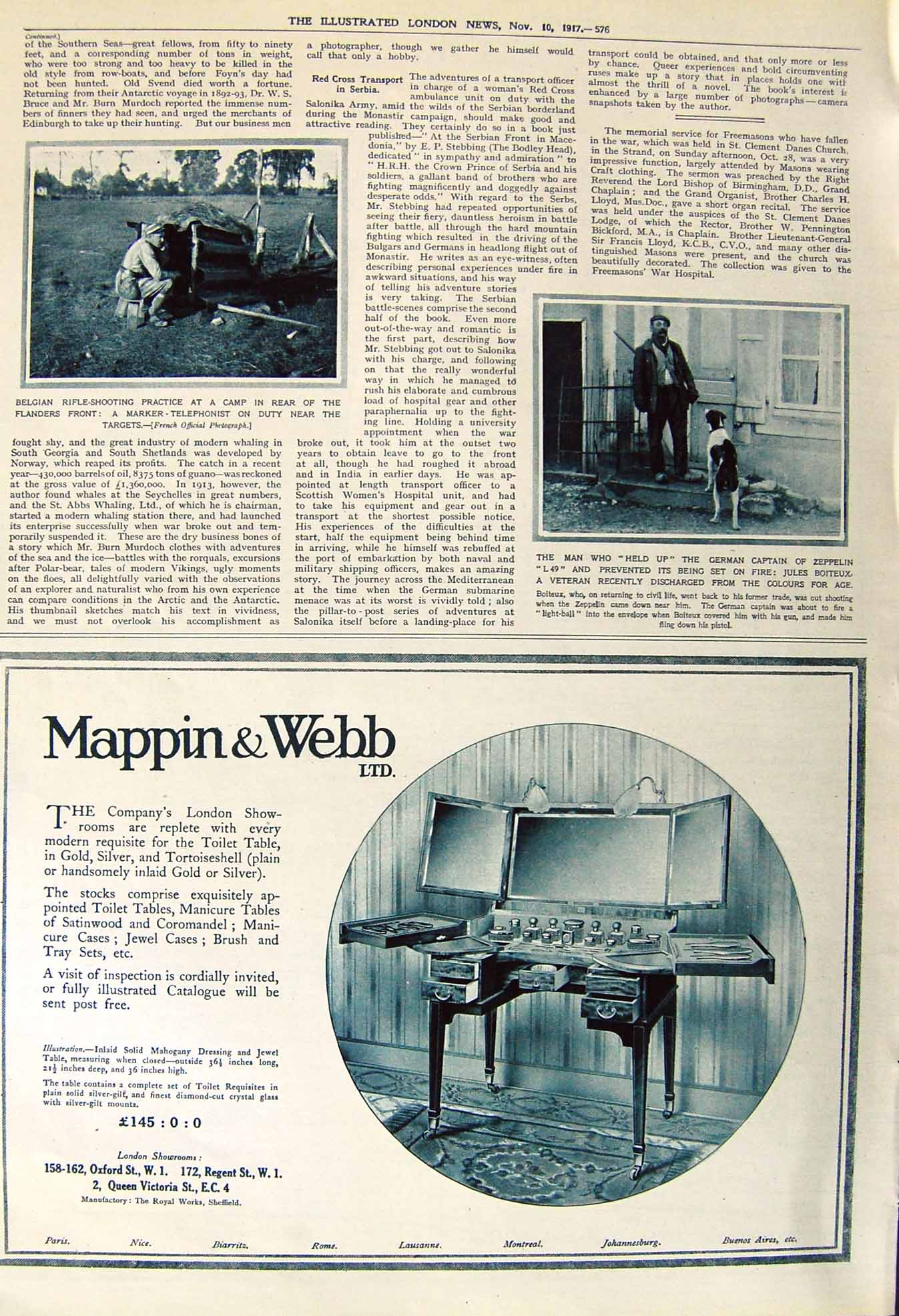 [Print 1917 Belgian Rifle Shooting Flanders Jules Boiteux Dog 576P251 Old Original]