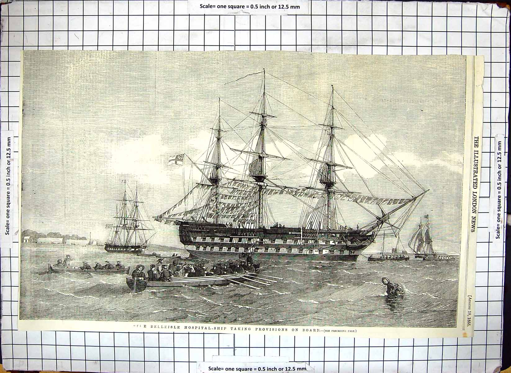 [Print Belleisle Hospital Ship Taking Provisions On Board 1855 Sailing 251G308 Old Original]