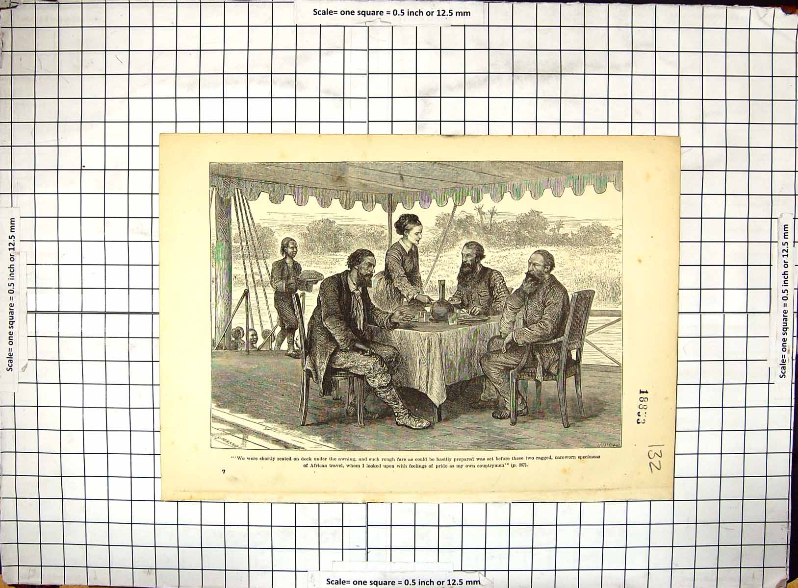 [Print Travel Africa English Men Resting Refreshments Natives 132G309 Old Original]