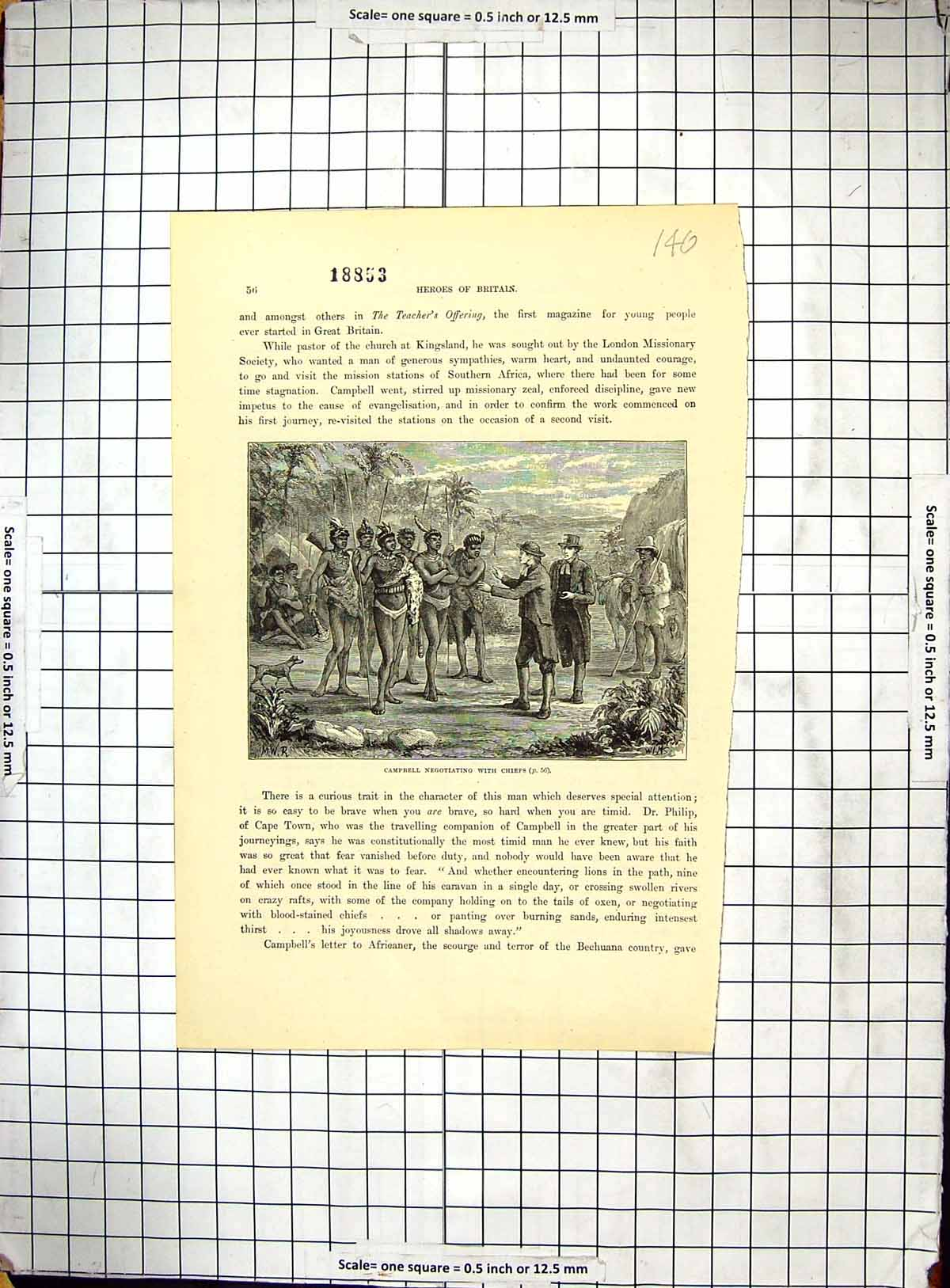 [Print Scene Campbell Negotiating Chiefs Africa Dr. Philip 140G309 Old Original]