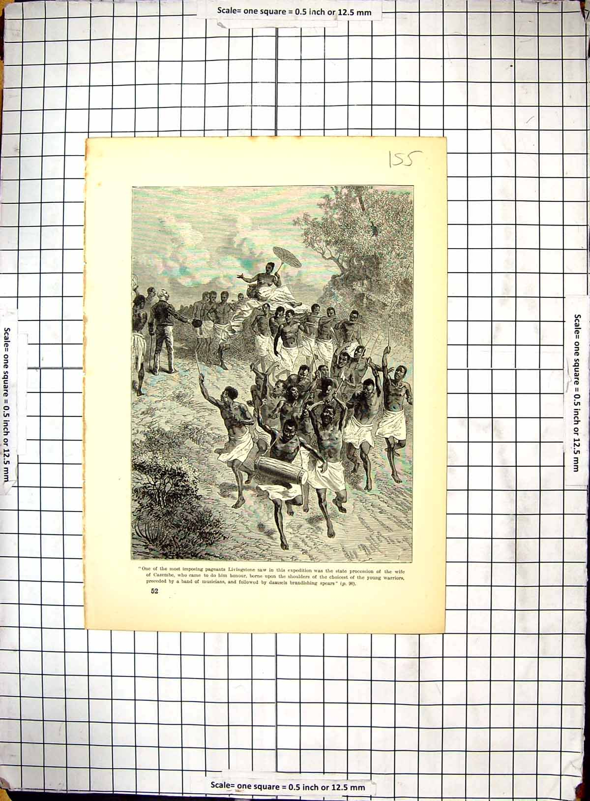 [Print Africa Livingstone Pageants Wife Cazembe Warriors 155G309 Old Original]