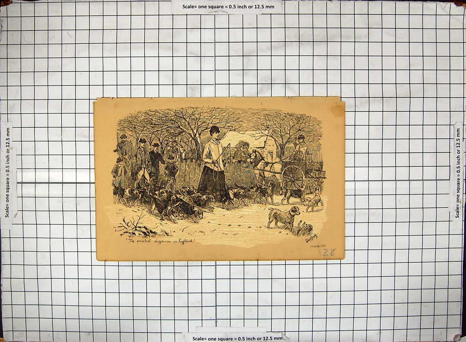 [Print Hunting England Horses Hounds Dogs 138G316 Old Original]