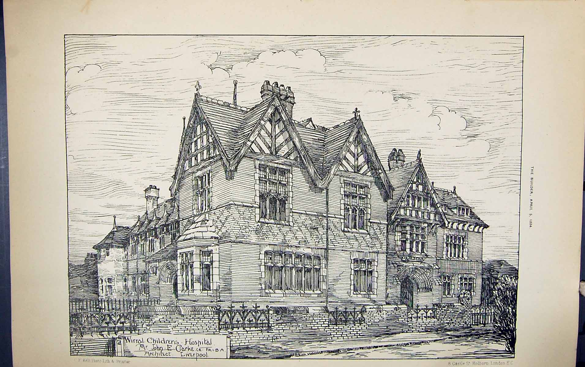[Print Wirral Children Hospital John Clarke Liverpool Building 1884 Arch 230G318 Old Original]