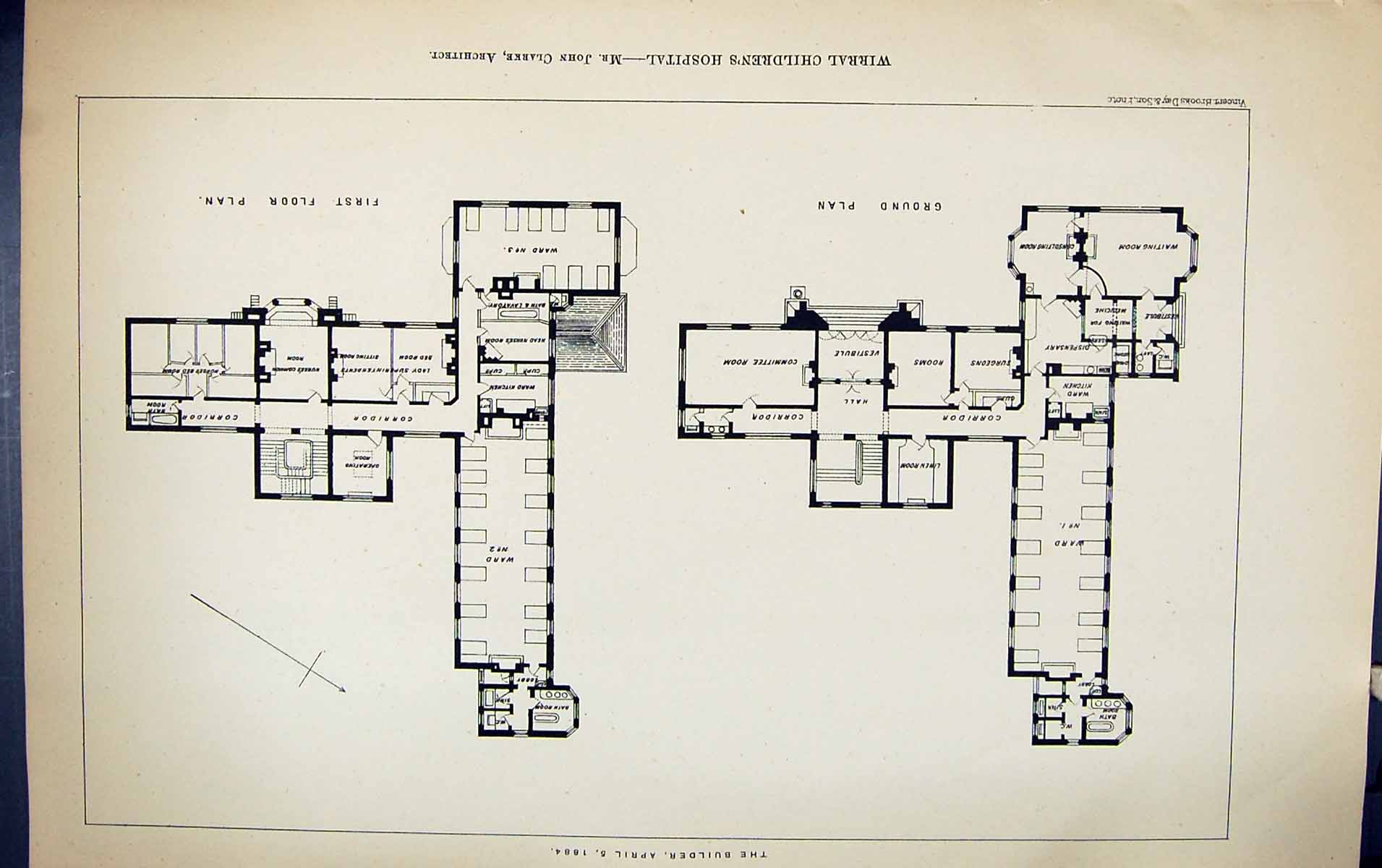[Print Plan Wirral Children'S Hospital John Clarke Building 1884 Archite 233G318 Old Original]
