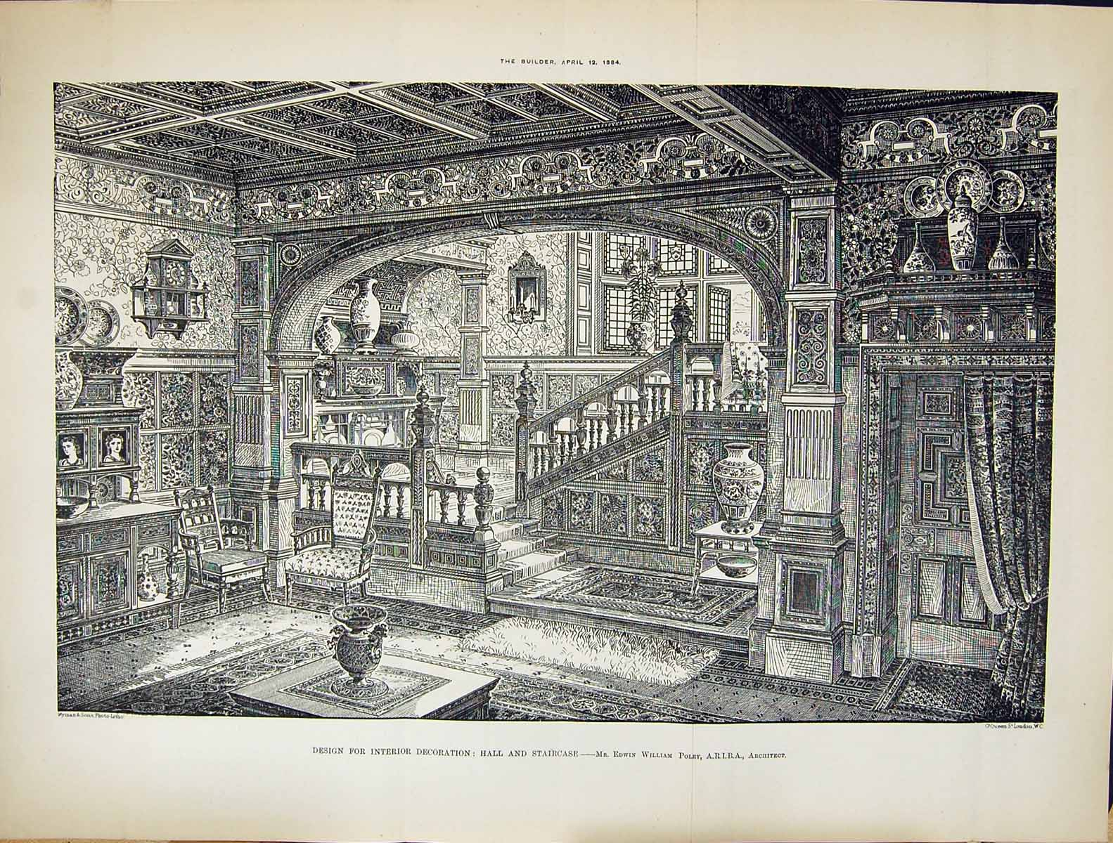 [Print Builder 1884 Design Interior Decoration Hall Staircase Edwin Will 128Tg319 Old Original]