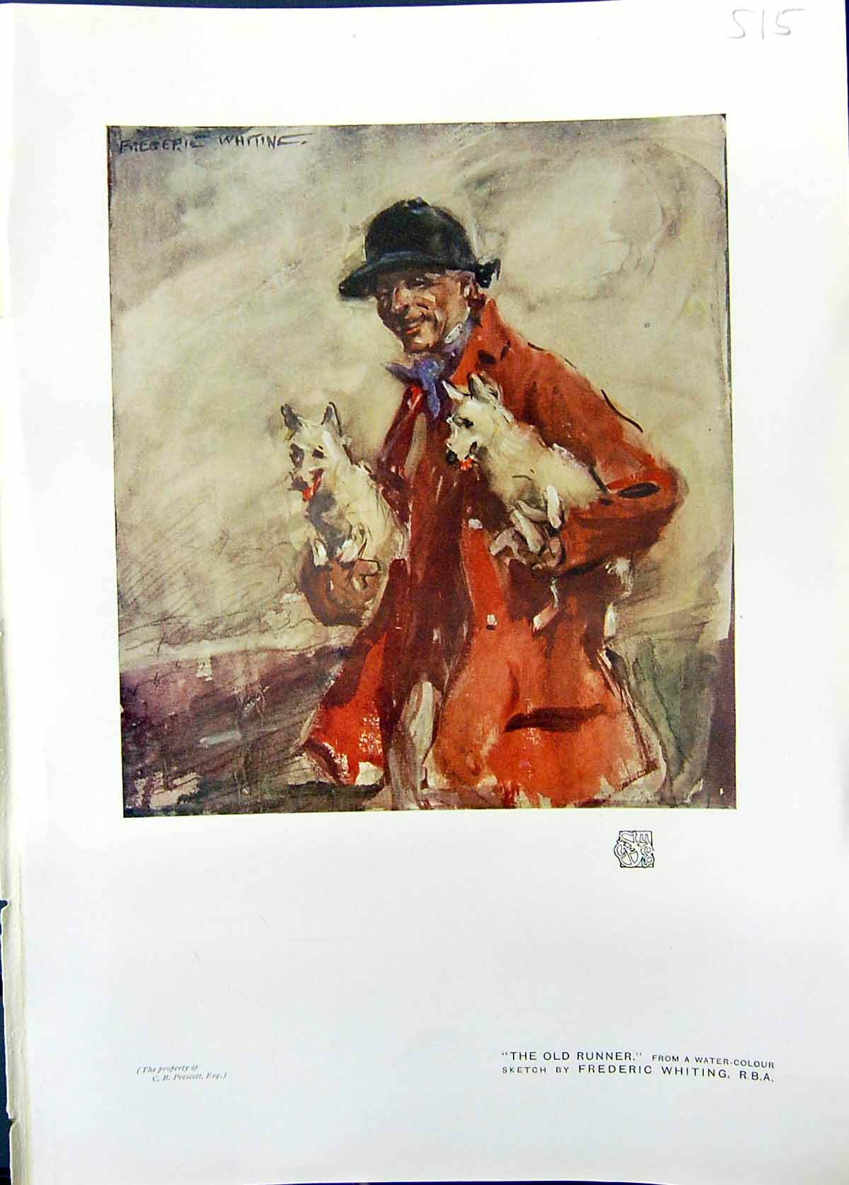 [Print Colour Runner Hunting Man Dogs Frederic Whiting Studio 1911 515G335 Old Original]