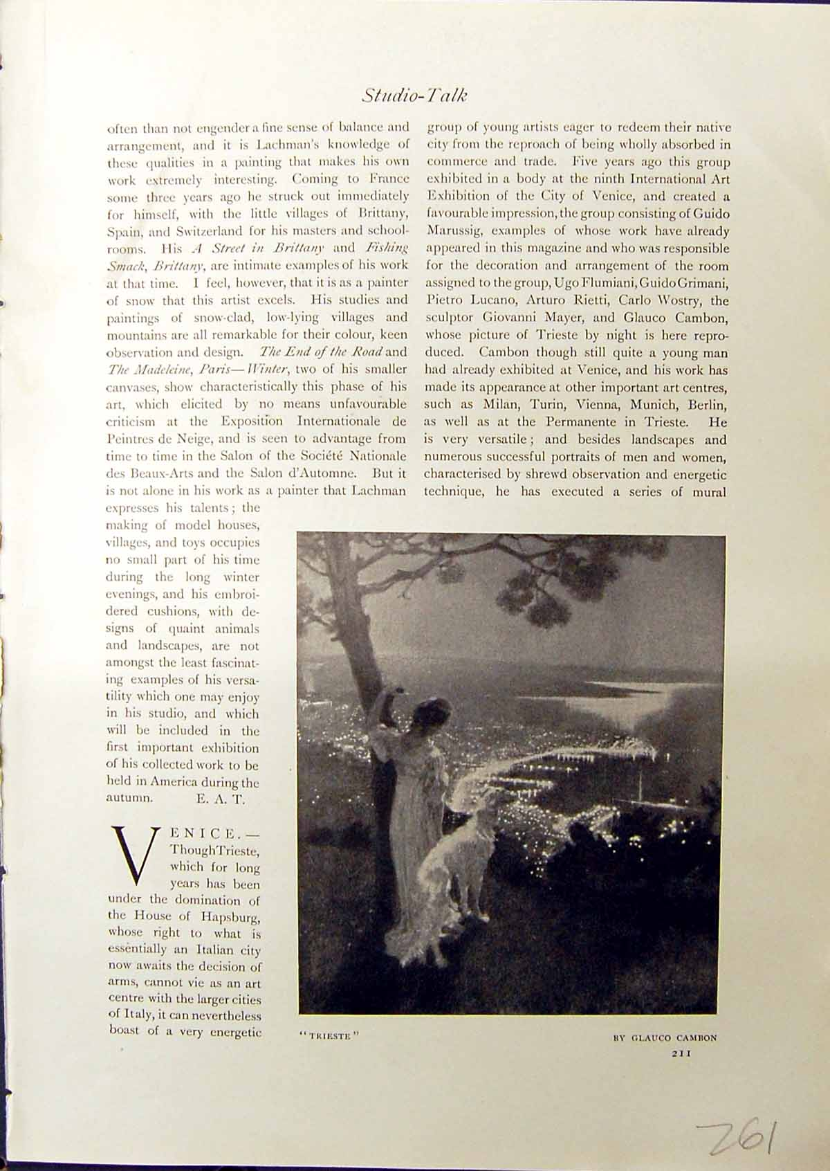 [Print Trieste Lady Dog Glauco Cambon 1914 Ships Canal Charles Simpson 261G338 Old Original]