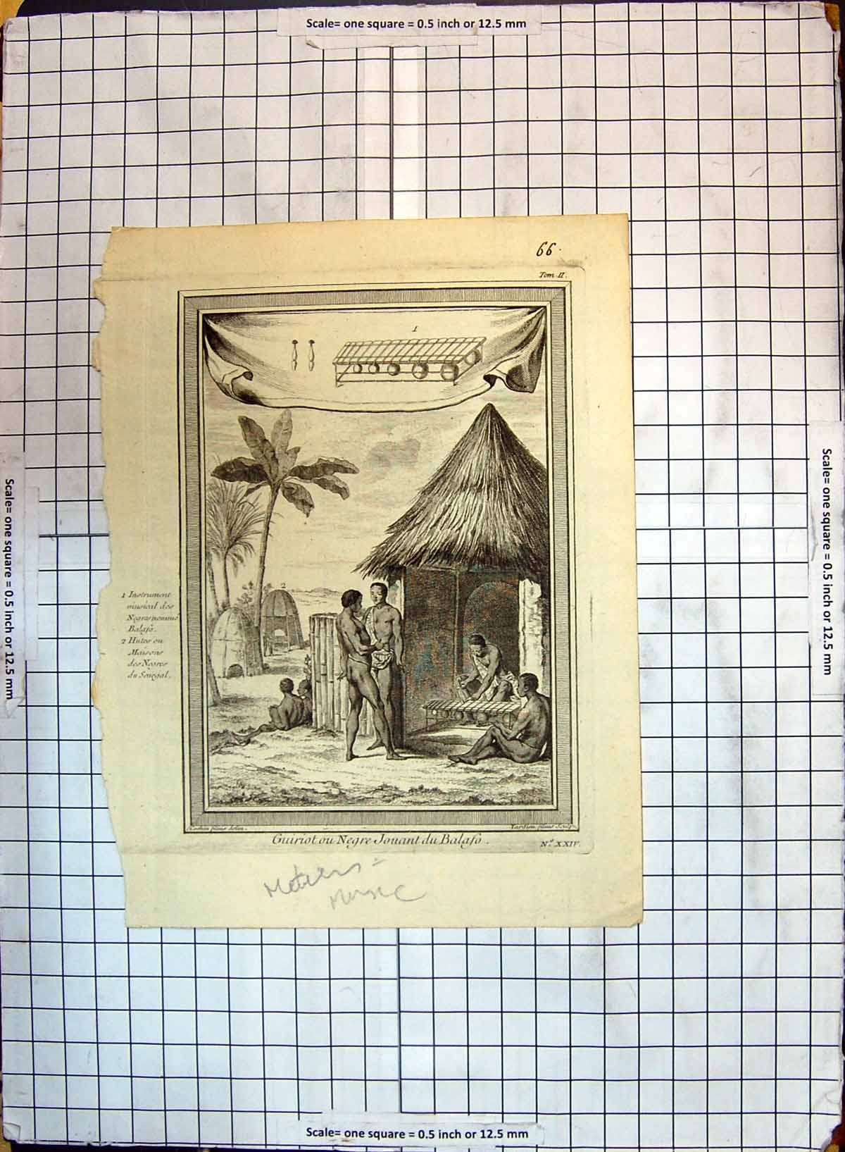 [Print Guiriot Negre Jouant Balaso Natives Camp Africa 214G347 Old Original]