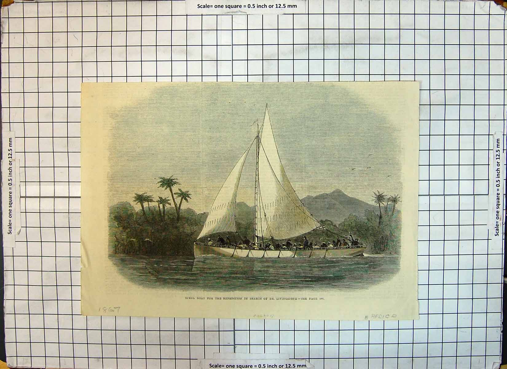 [Print 1867 Steel Boat Expedition Search Dr. Livingstone Africa 194G348 Old Original]