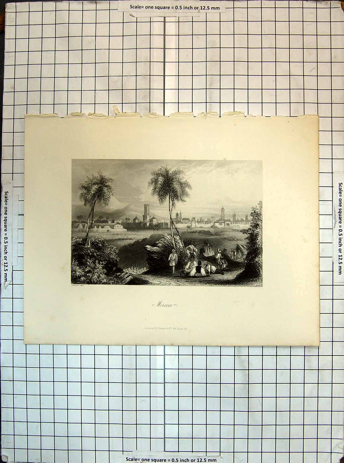[Print View Morocco North Africa Mountains Buildings Engraving 168G356 Old Original]