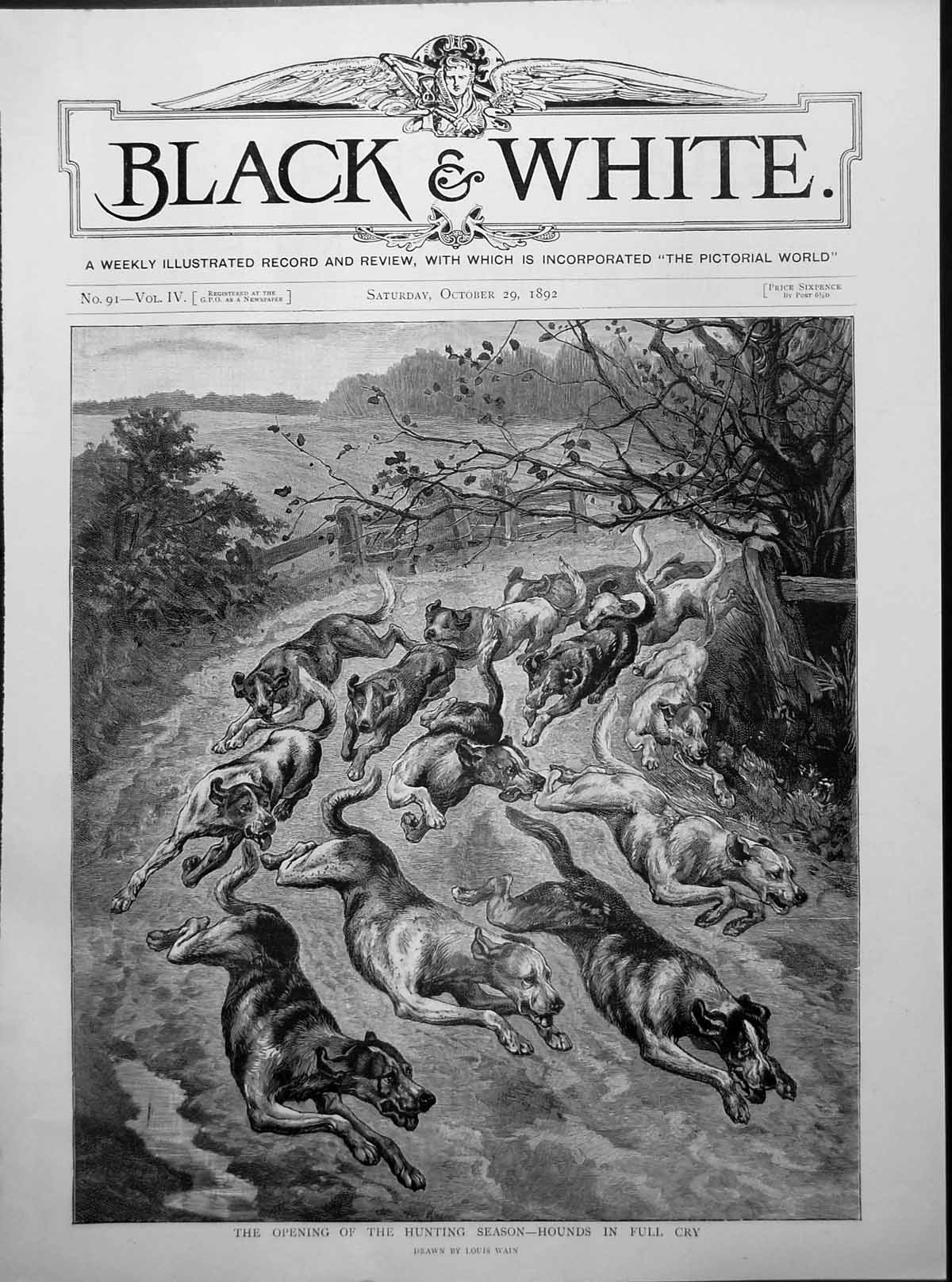[Print Hounds Full Cry Opening Hunting Season Lane Dogs L Wain 1892 203G367 Old Original]