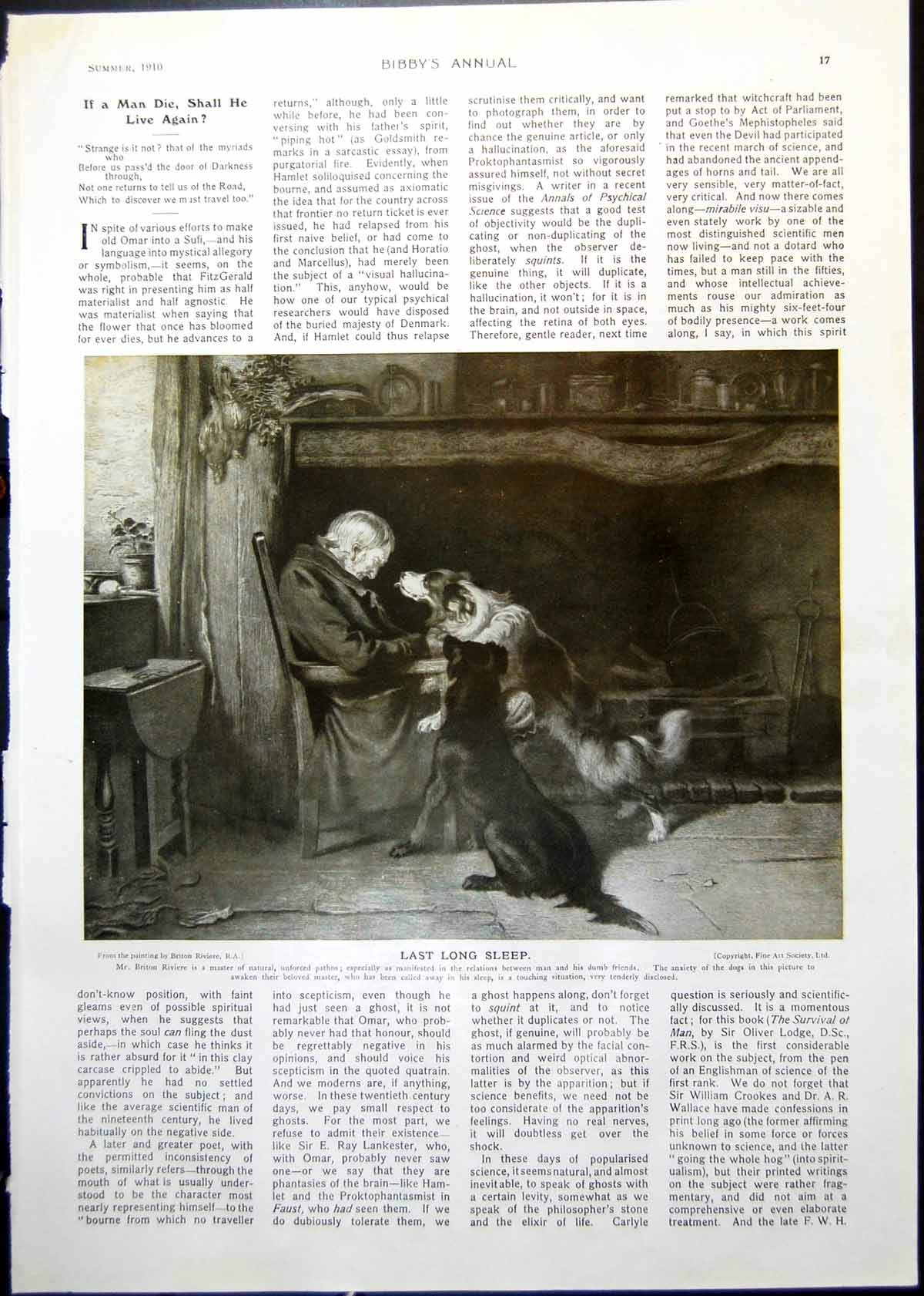 [Print Last Long Sleep Man Dogs B Riviere Sir Oliver Lodge Portrait 1910 017G368 Old Original]