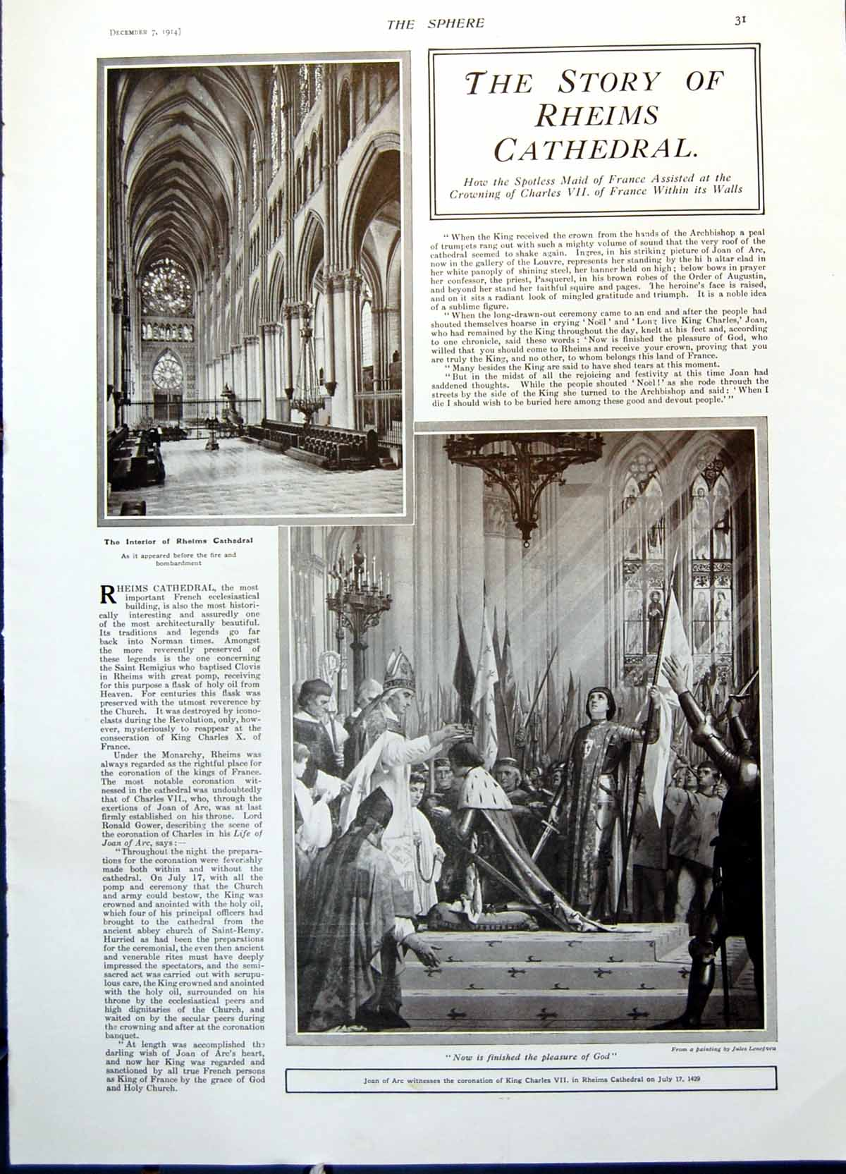 [Print Rheims Cathedral Burns French Hospitality Allied Tipperary 1914 031G371 Old Original]