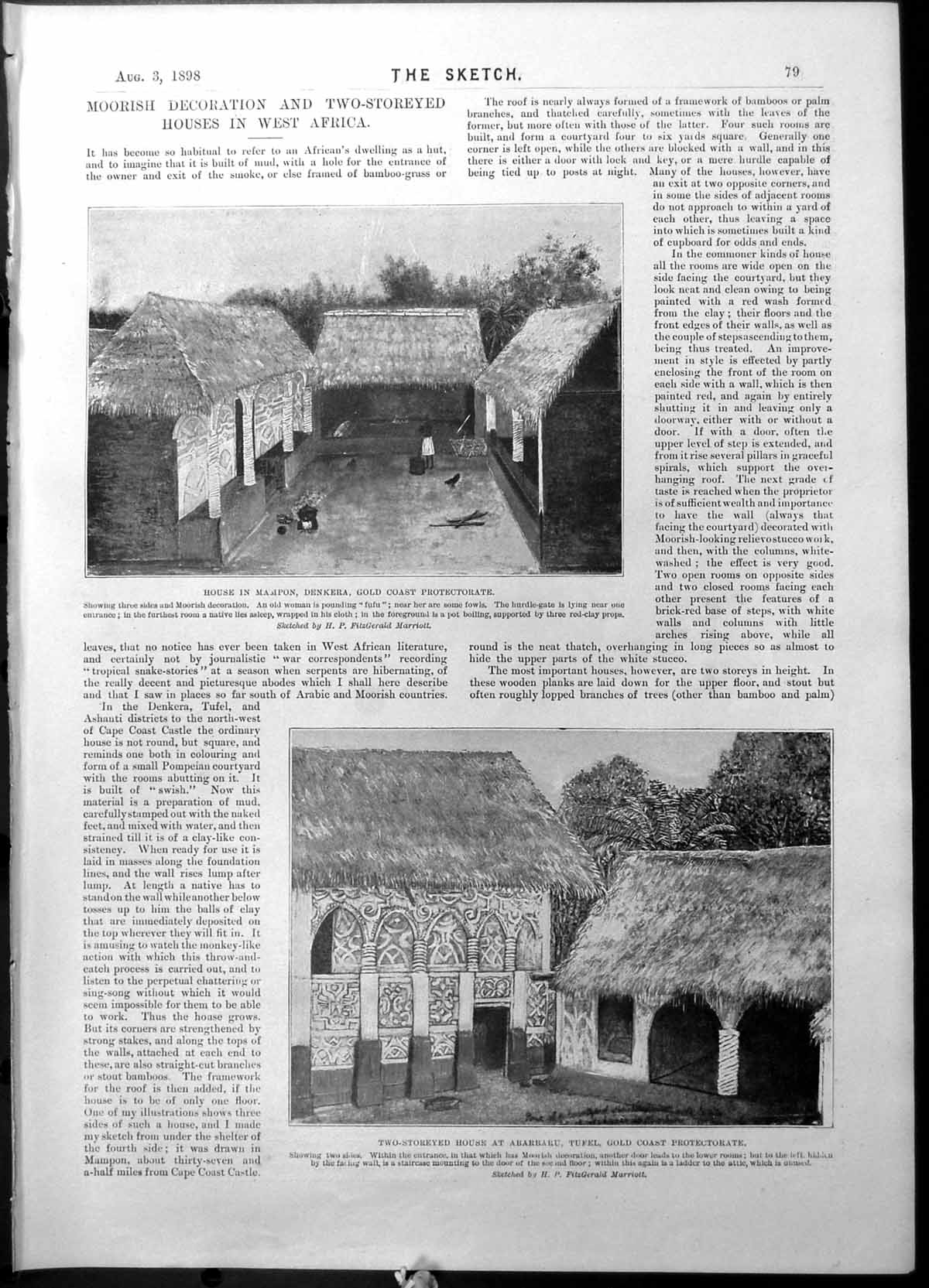 [Print Houses West Africa Gcoast Mampon Malay New Opera 1898 079G523 Old Original]