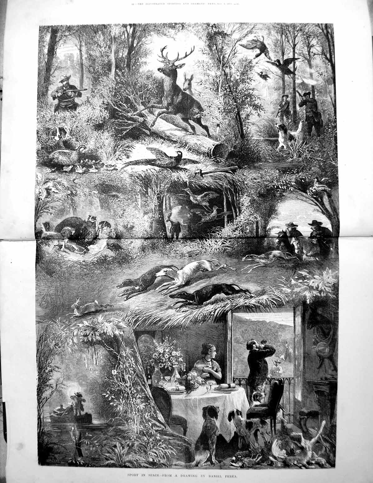 [Print Sport Spain From Drawing Daniel Perea Deer Dogs Shooting 1875 145TG614 Old Original]