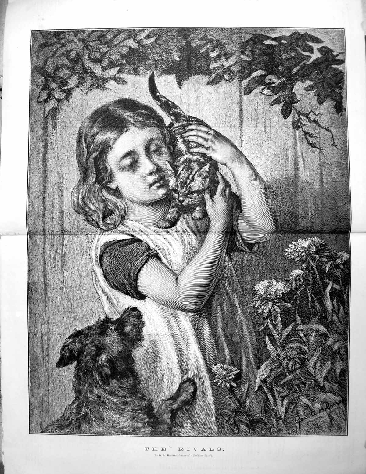 [Print The Rivals Ga Holmes Little Girl Holding Kitten Dog Jumping Up 1878 159TG614 Old Original]