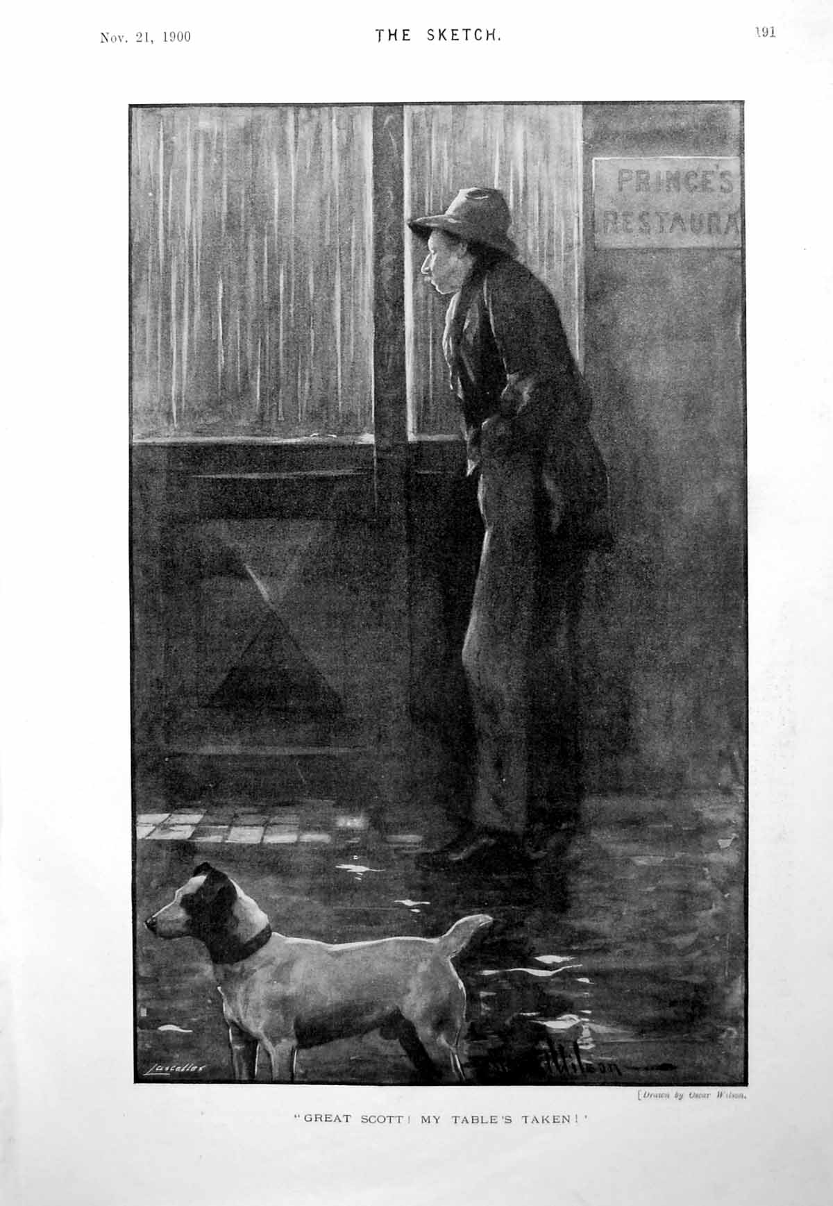 [Print Man Looking Into Restaurant Table'S Taken Little Dog 1900 191G615 Old Original]