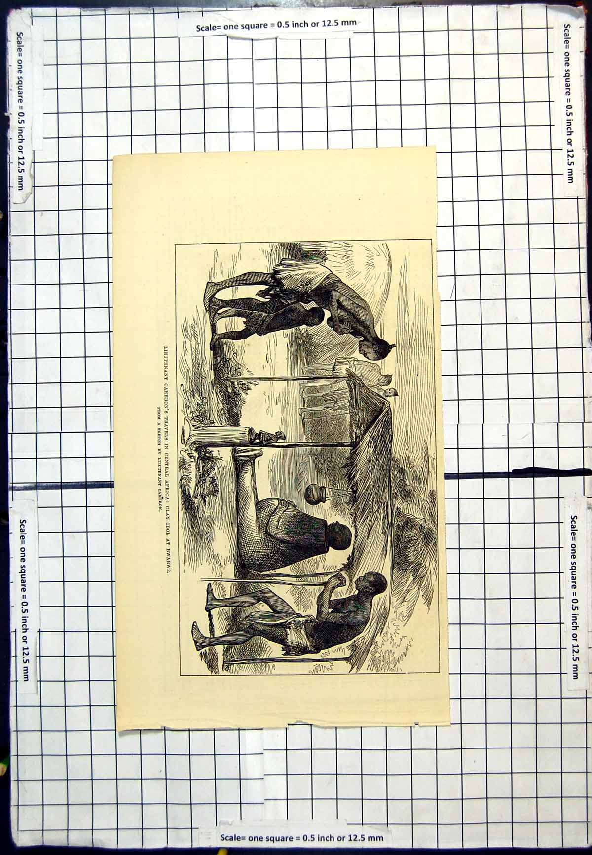 [Print Central Africa Clay Idol At Bwarwe Sketch Lieutenant Cameron 513G618 Old Original]