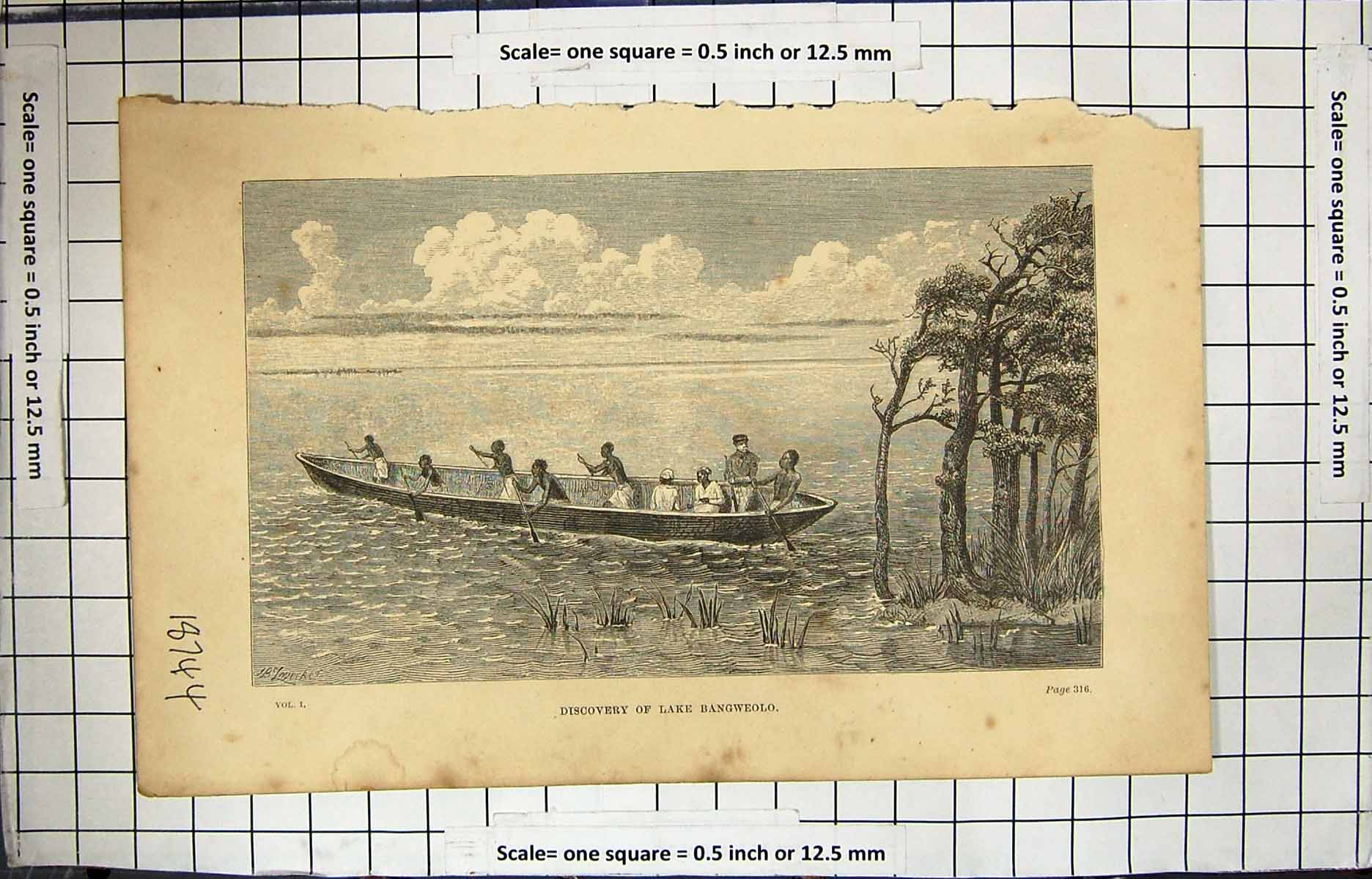 [Print Discovery Lake Bangweolo Boat Scene Africa 139H115 Old Original]