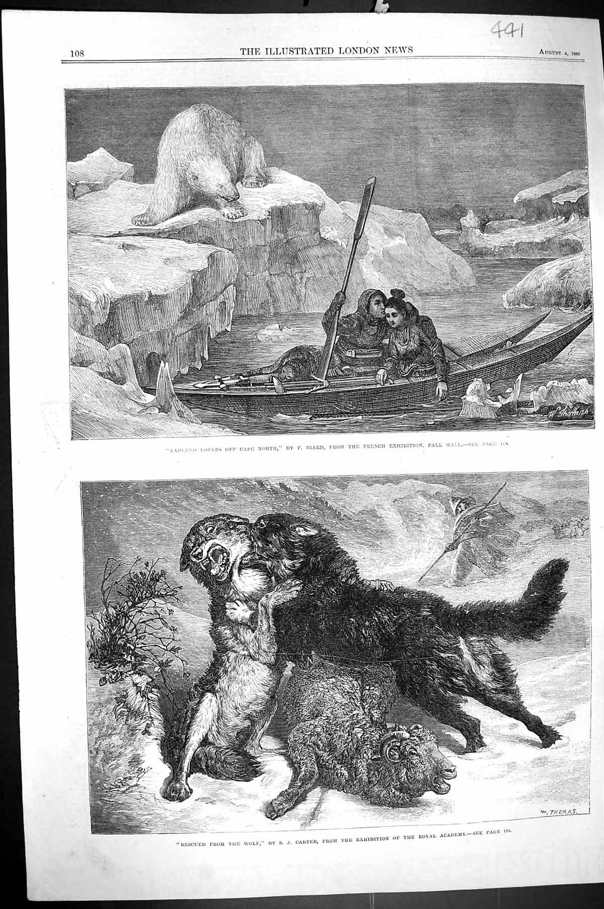 [Print 1866 Lapland Lovers Cape North Romance Polar Bear Sheep Wolf Dog 441J302 Old Original]
