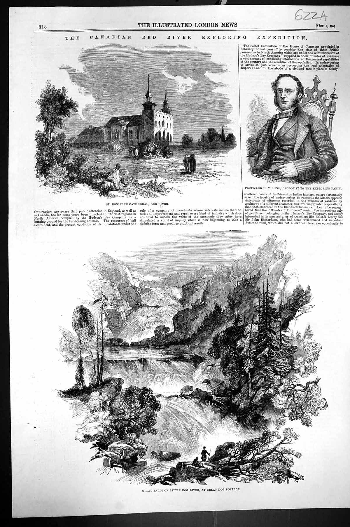 [Print 1868 Canada Red River Boniface Cathedral Hind Little Dog River Ka 622Aj302 Old Original]