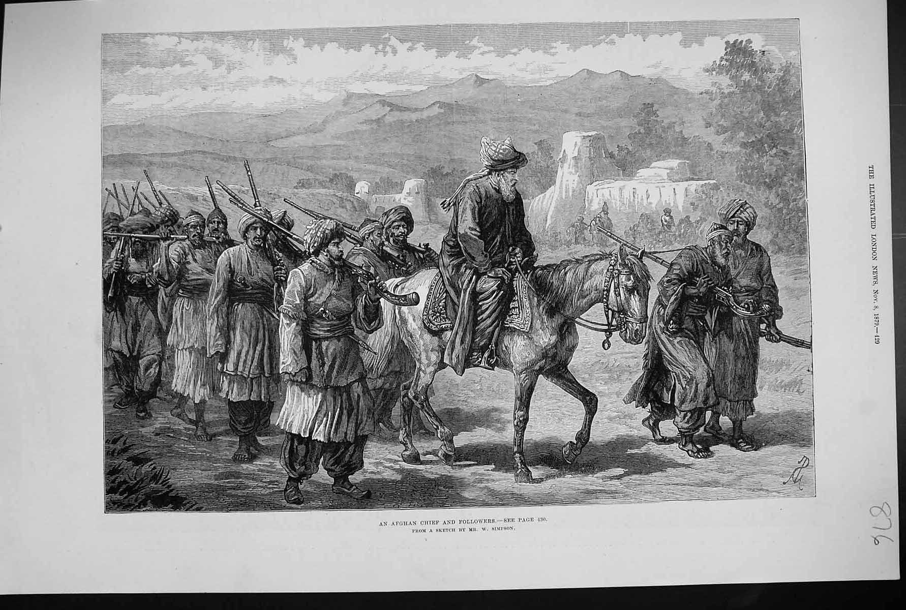 [Print 1879 Afghan Chief Followers Men Horse Weapons Simpson 876J303 Old Original]