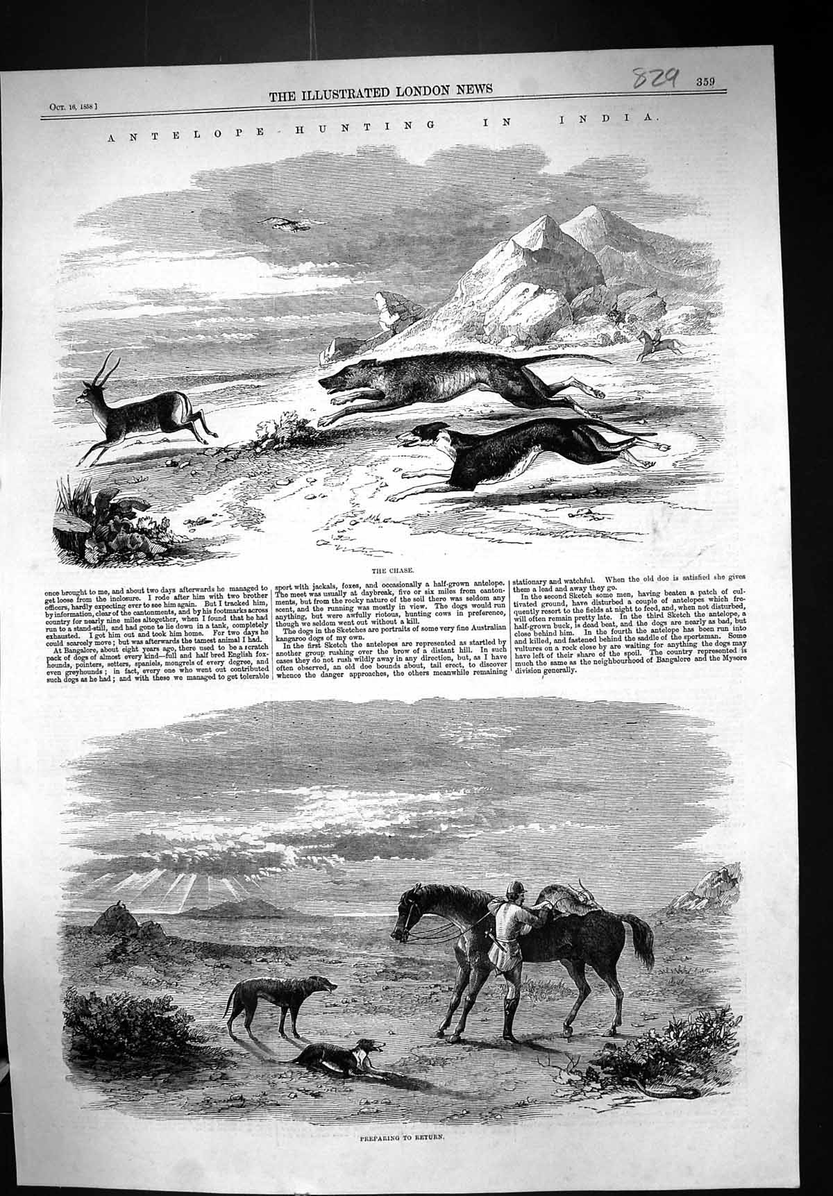 [Print 1858 Antelope Hunting India Sport Man Hounds Dogs Horse Mountains 829J306 Old Original]