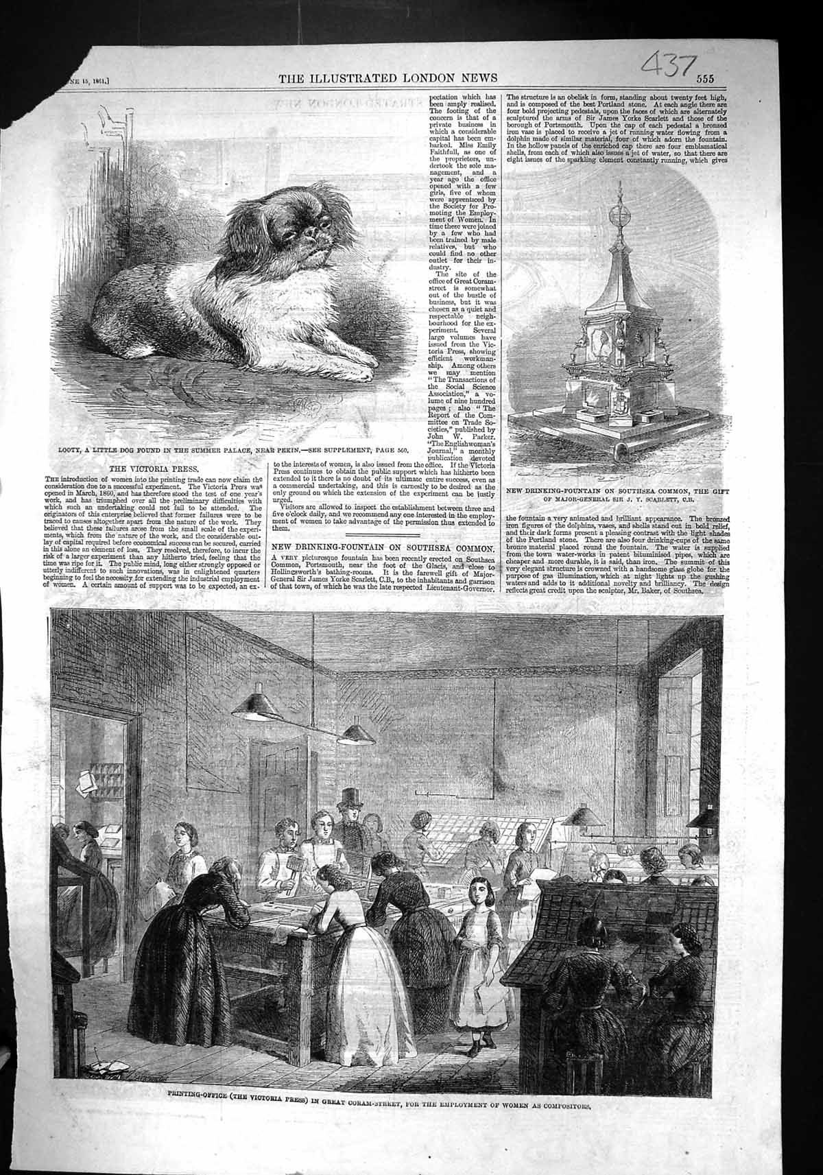 [Print 1861 Ing-Office Victoria Press Coram Looty Dog Pekin Fountain Sou 437J308 Old Original]