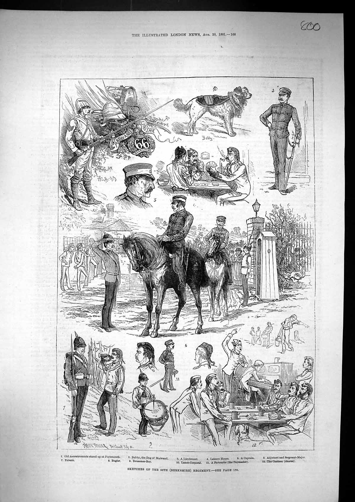 [Print 1881 Berkshire Regiment Bobby Dog Maiwand Soldiers Bugler Canteen 800J309 Old Original]