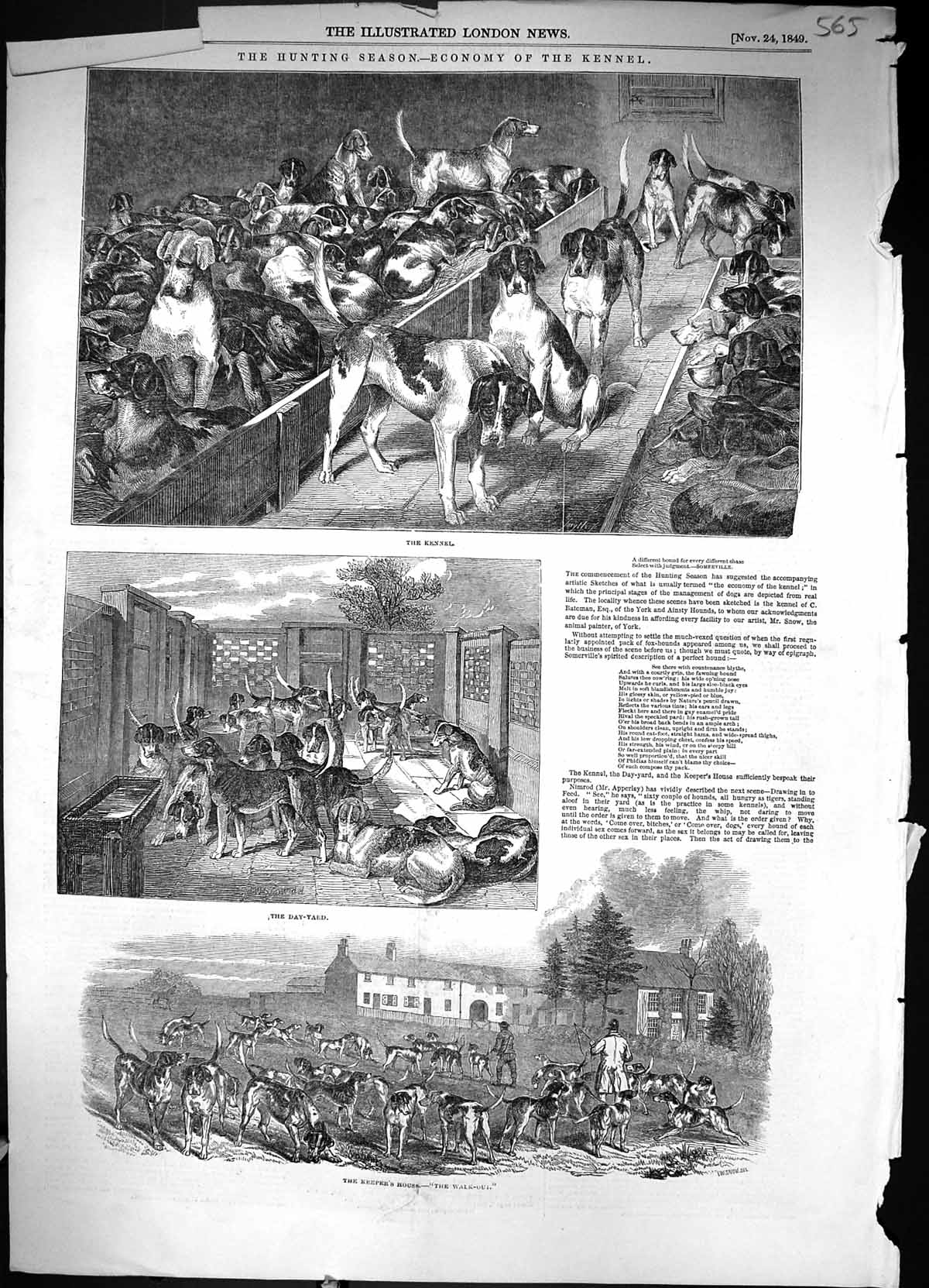 [Print 1849 Hunting Dogs Hounds Kennel Day-Yard Keepers House Animals Sp 565J320 Old Original]
