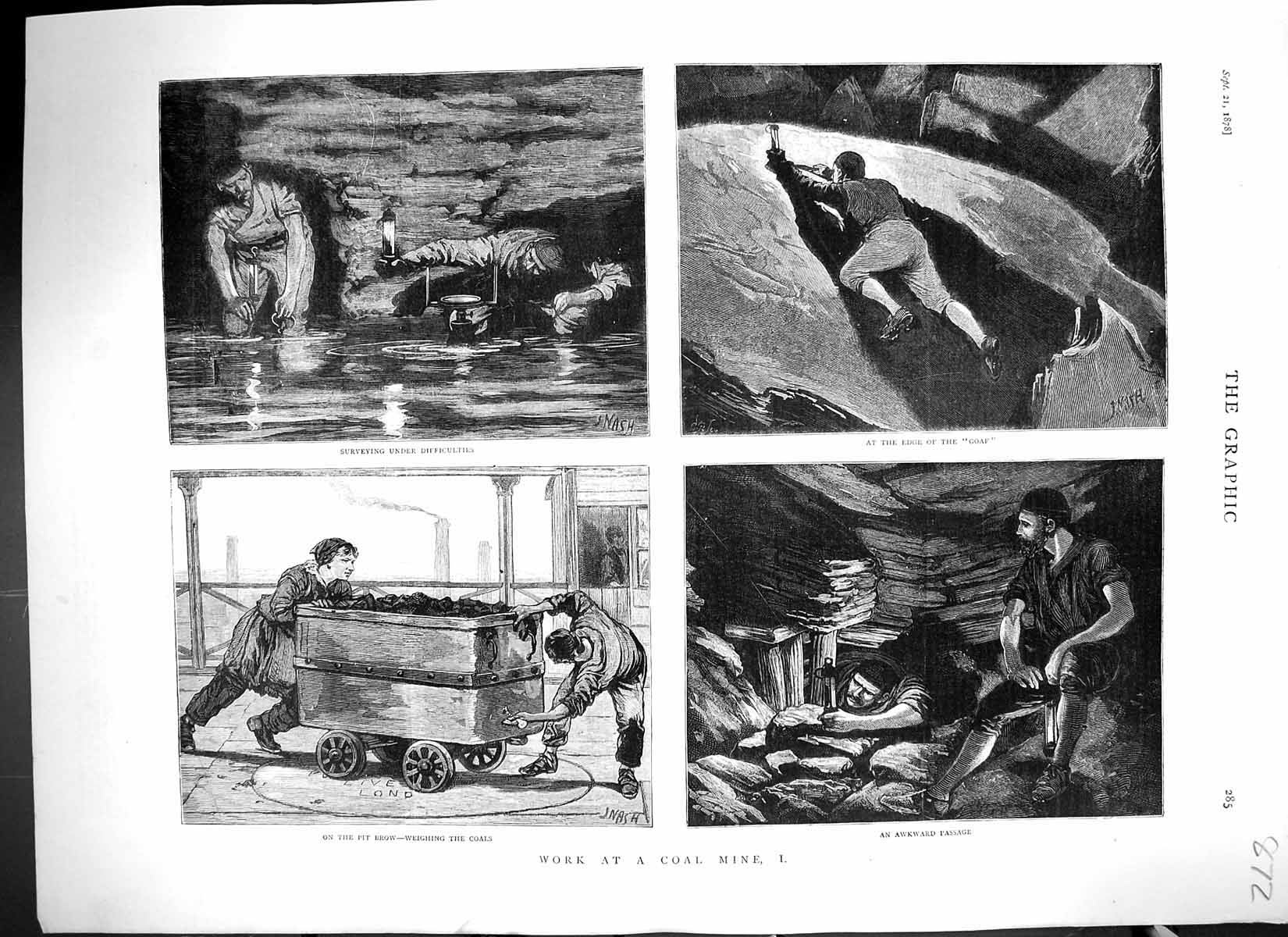 Print 1878 Working Coal Mine Miners Colliery Weighing Pit Brow Fine Art 872J324 Old Original
