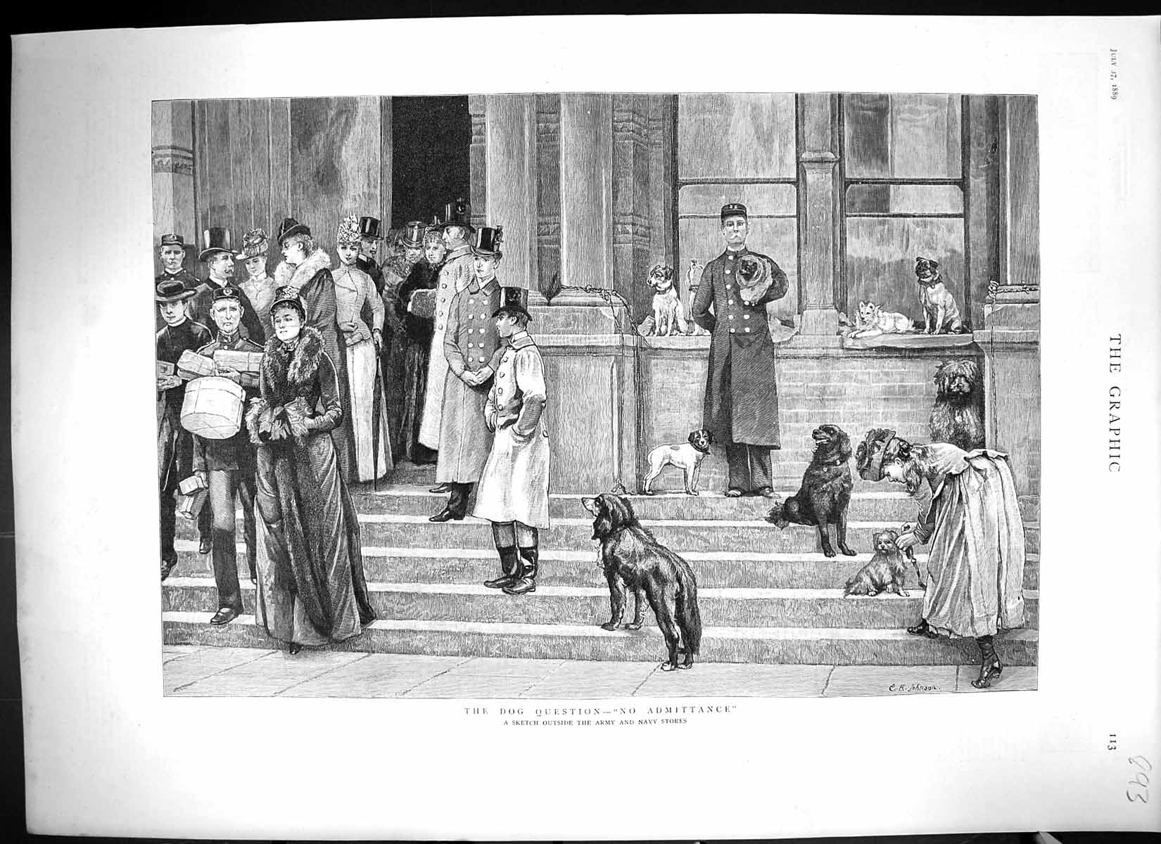[Print 1889 Scene Outside Army Navy Stores Dogs Ladies Guards 893J324 Old Original]