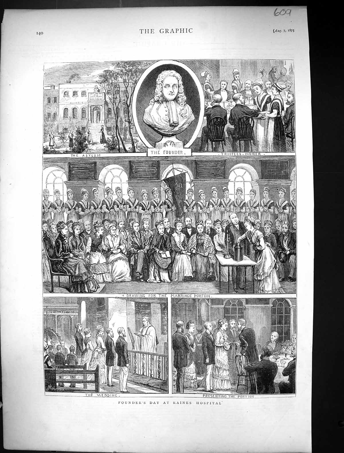 [Print 1875 Founder'S Day Raines Hospital Asylum Wedding 609J326 Old Original]