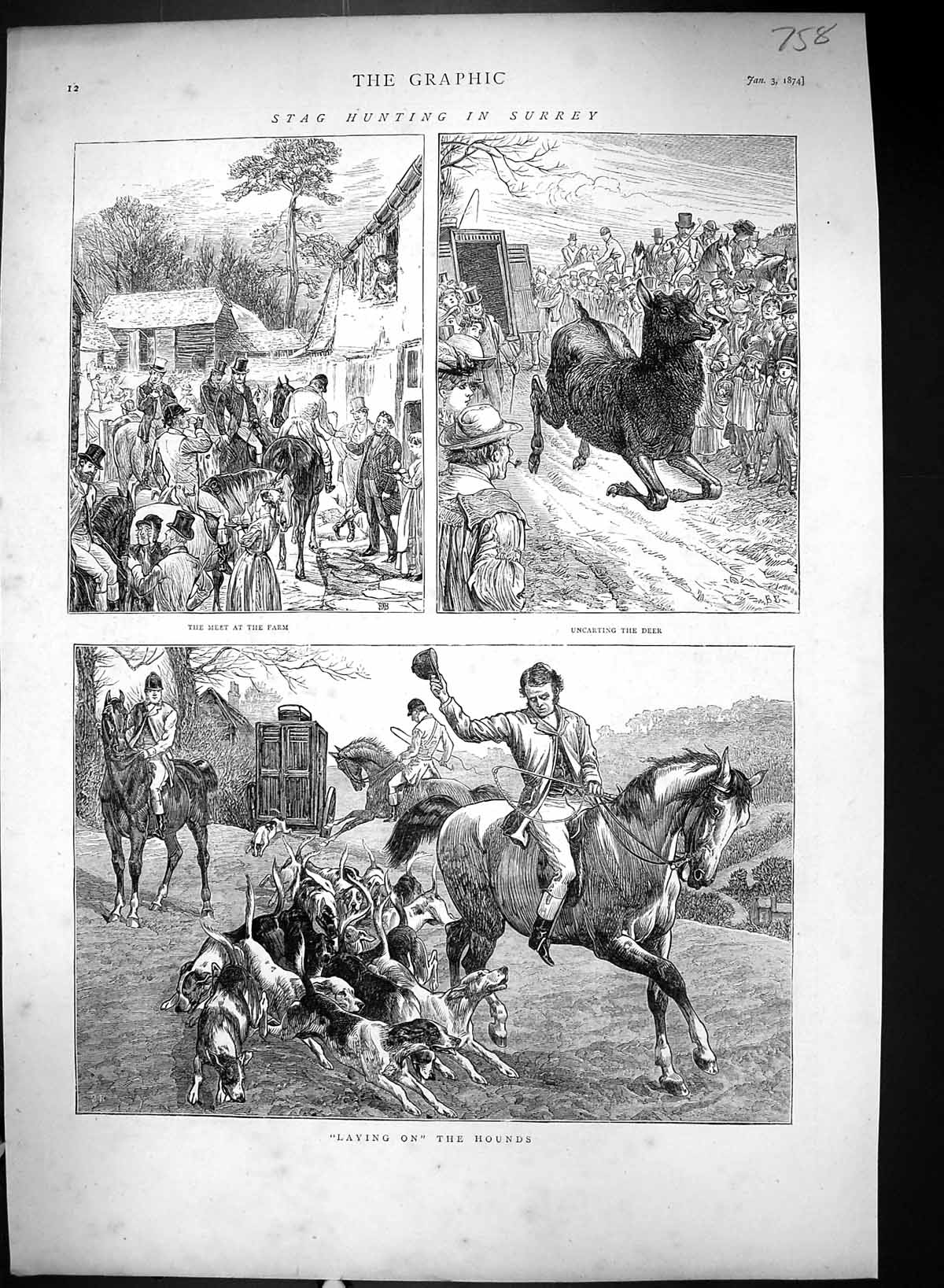 [Print 1874 Stag Hunting Surrey Farm Sport Hounds Dogs Horses Huntsmen 758J327 Old Original]