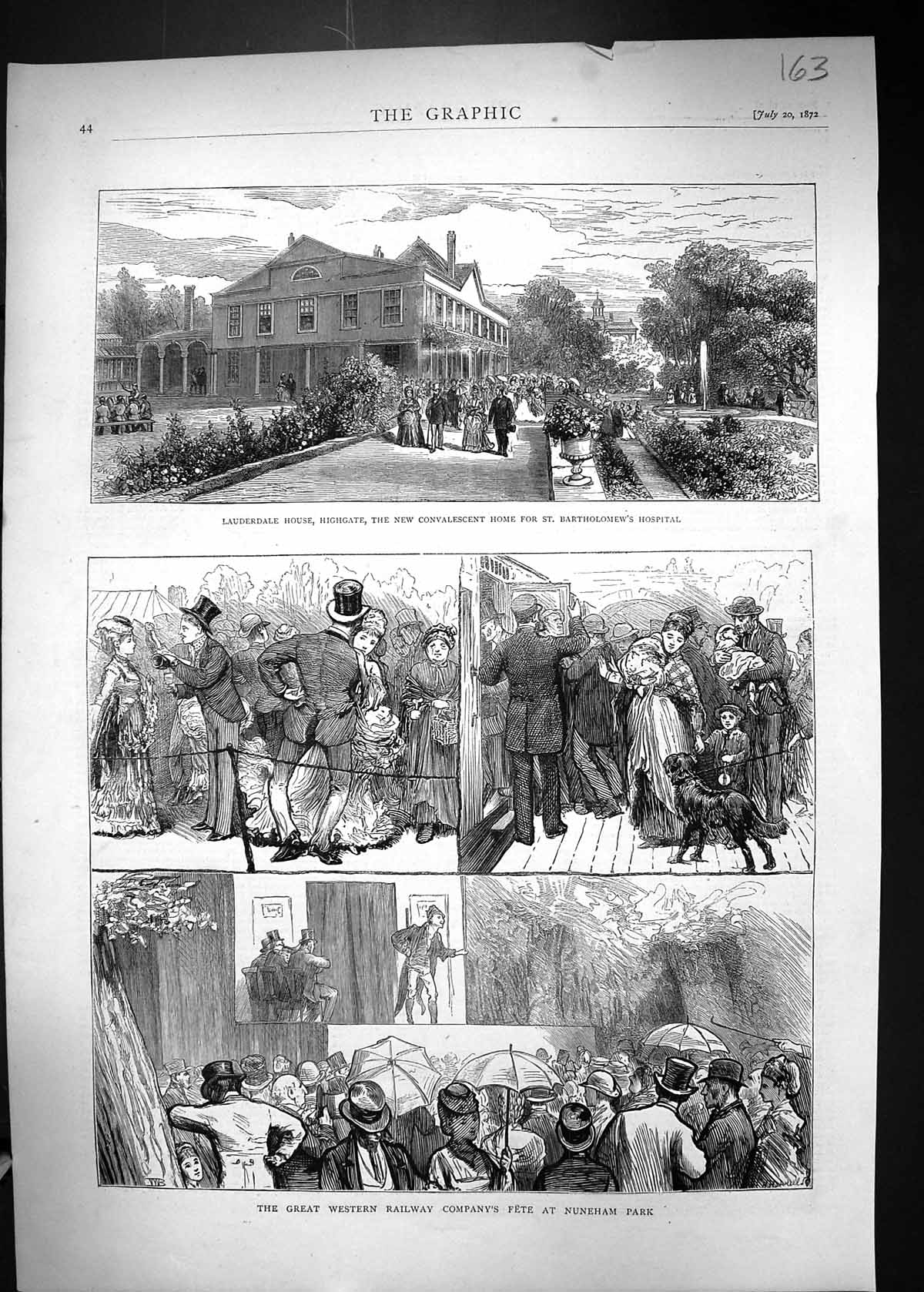 [Print 1872 Lauderdale House Highgate Bartholomew'S Hospital Railway Fet 163J328 Old Original]