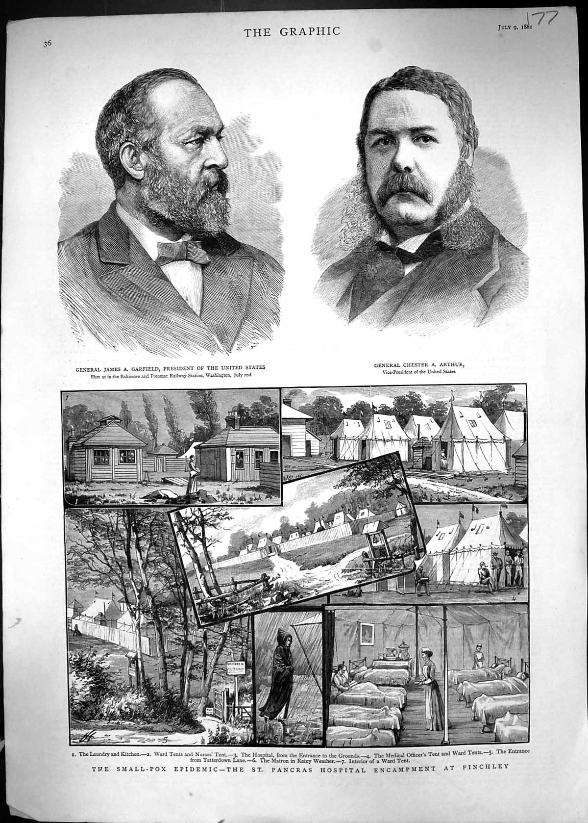 [Print 1881 Small Pox Epidemic Pancras Hospital Finchley James Garfield 177J328 Old Original]
