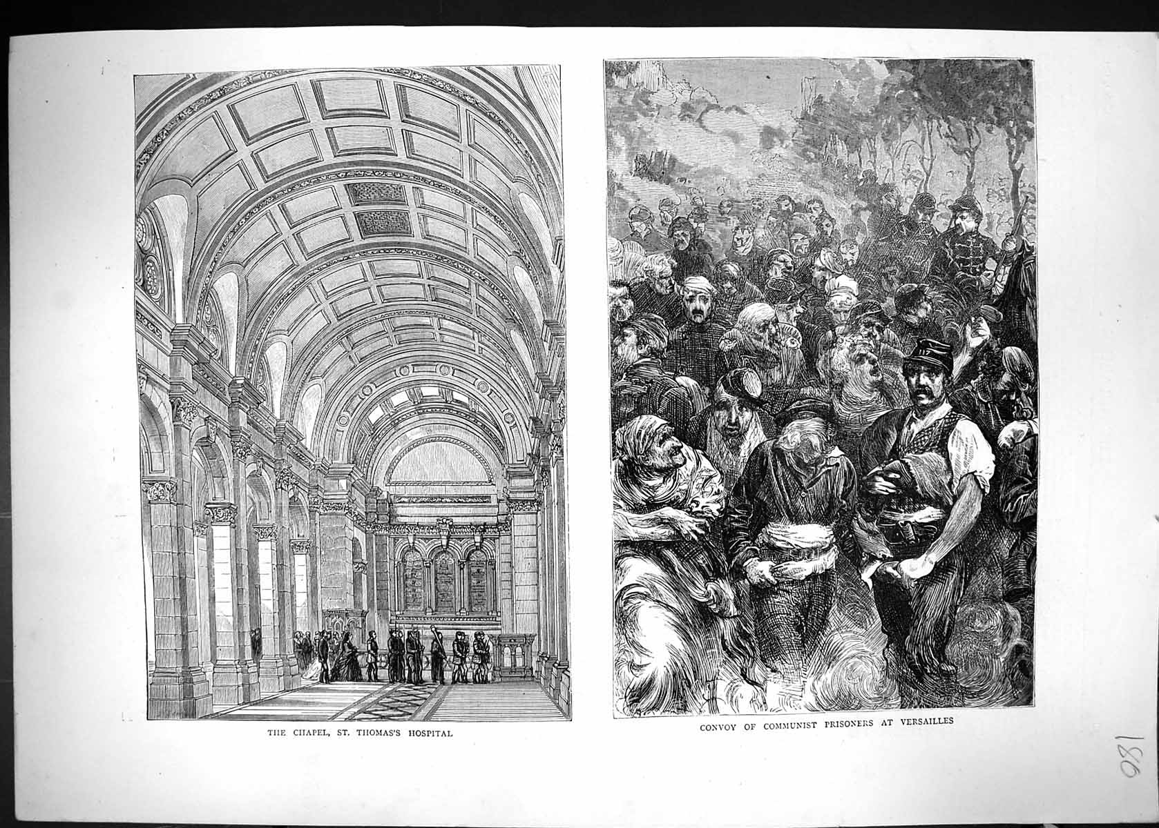 [Print 1871 Chapel St. Thomas'S Hospital Convoy Communist Prisoners Vers 180J328 Old Original]