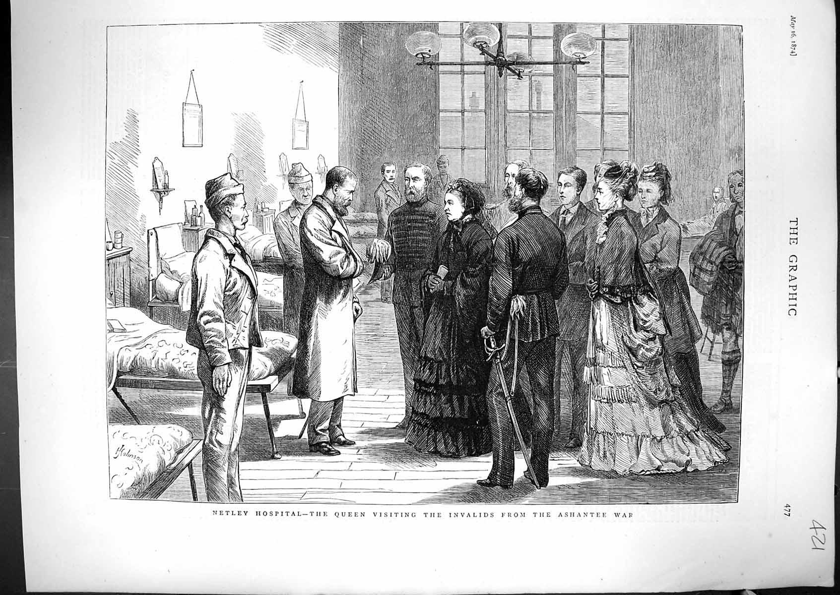 [Print 1874 Netley Hospital Queen Visiting Invalids Ashantee War Ward Pa 421J329 Old Original]