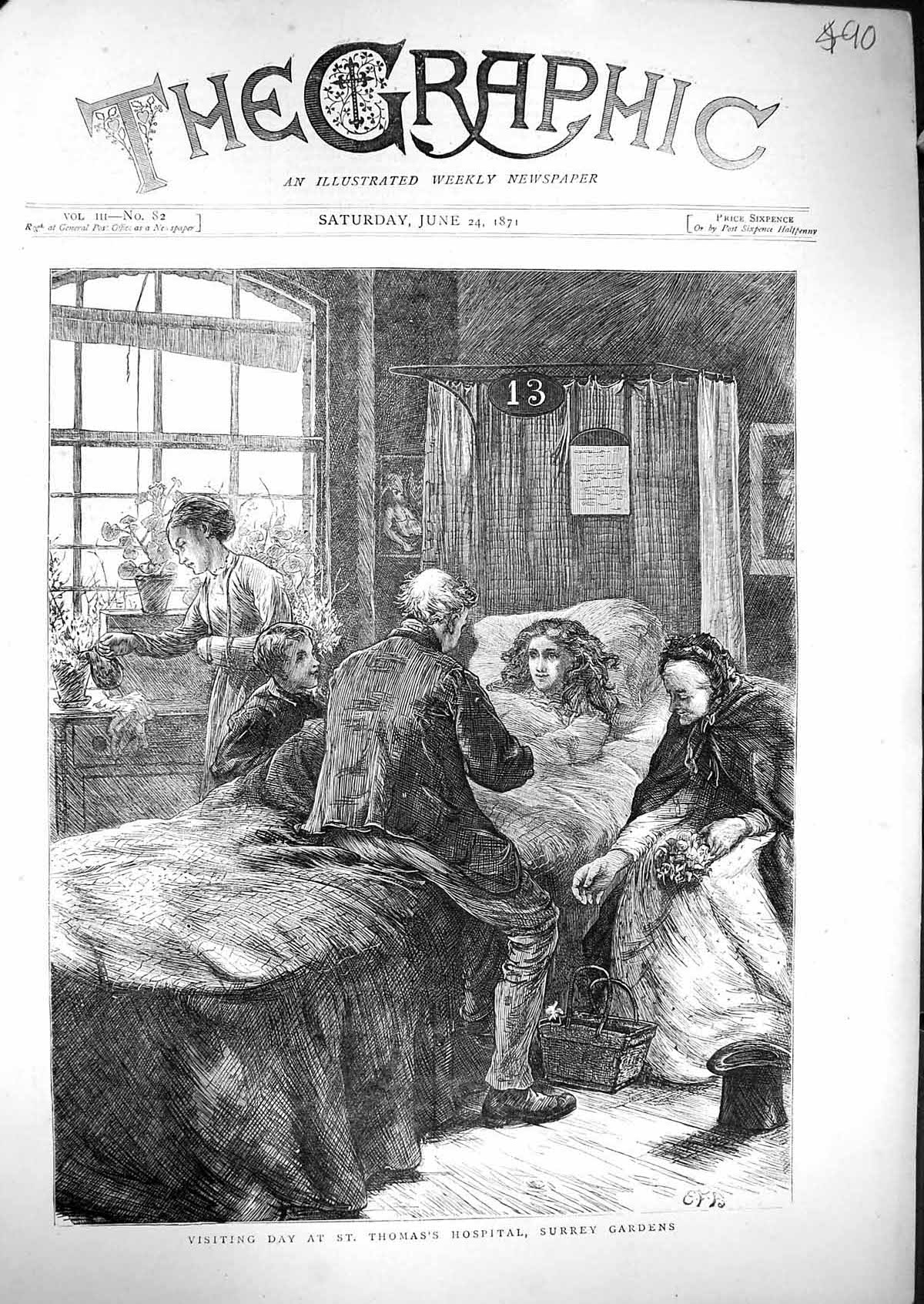 [Print 1871 Scene Visiting Day St. Thomas'S Hospital Surrey Gardens Nurs 490J329 Old Original]