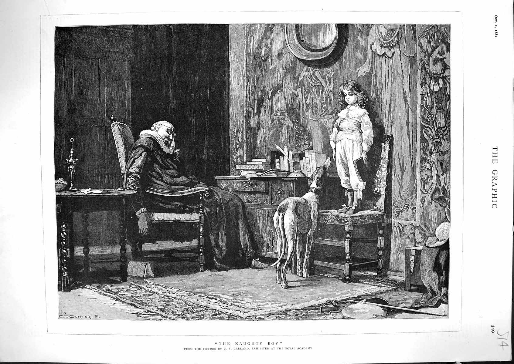 [Print 1881 Naughty Boy Chair Dog Man Sleeping Chair Garland 514J329 Old Original]